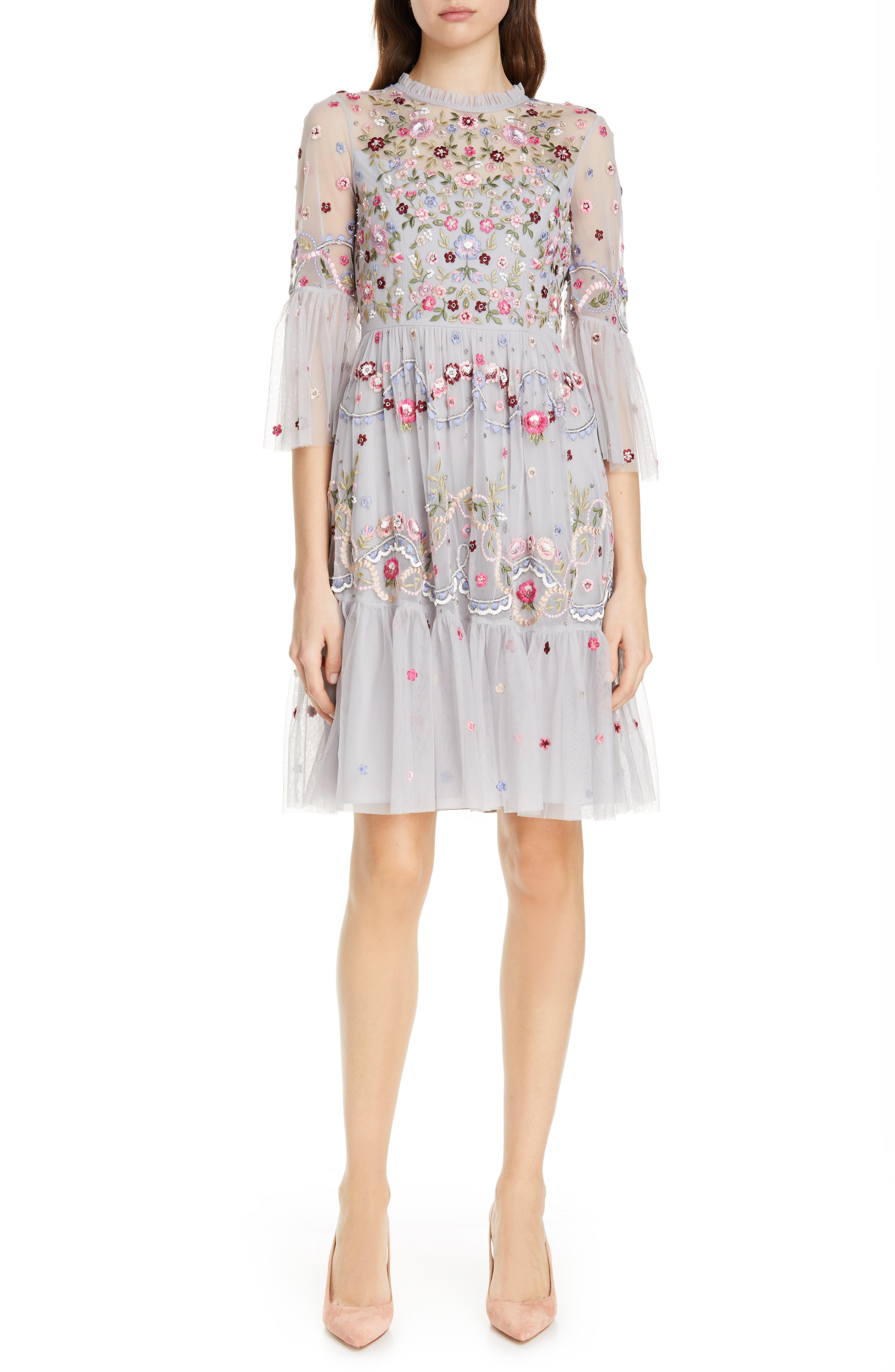 NEEDLE & THREAD Dreamers Embroidered Tulle Dress, Main, color, DUSK BLUE