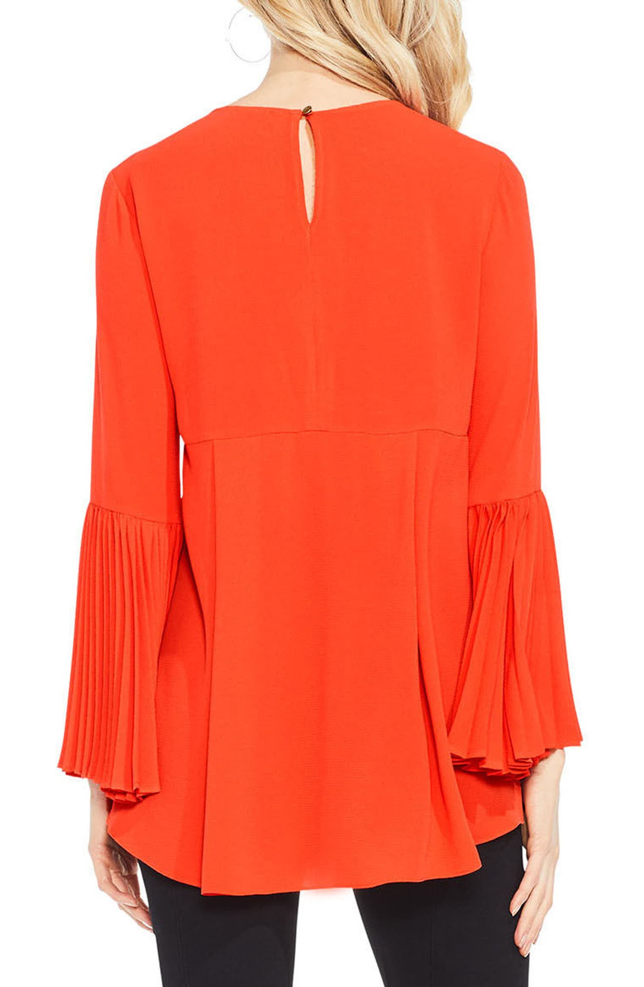 Pleat Bell Sleeve Blouse,                             Alternate thumbnail 6, color,