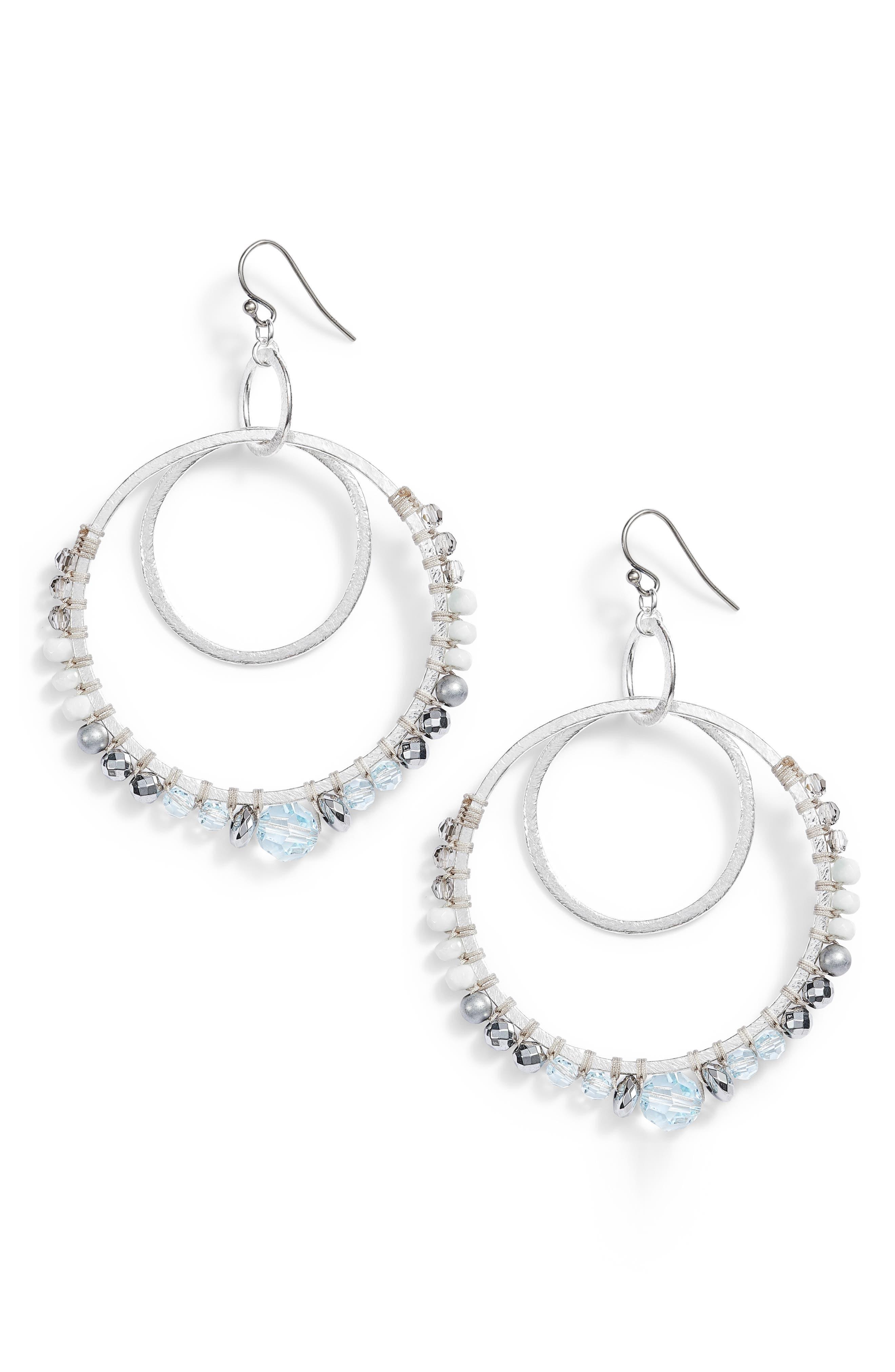 Semiprecious Stone Double Hoop Drop Earrings,                             Main thumbnail 1, color,                             AQUA MIX