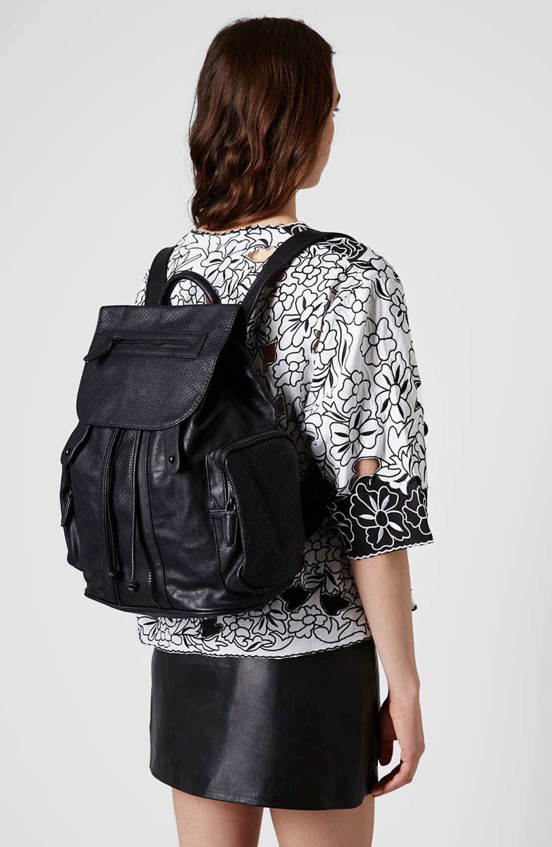 Perforated Backpack,                             Alternate thumbnail 4, color,                             001