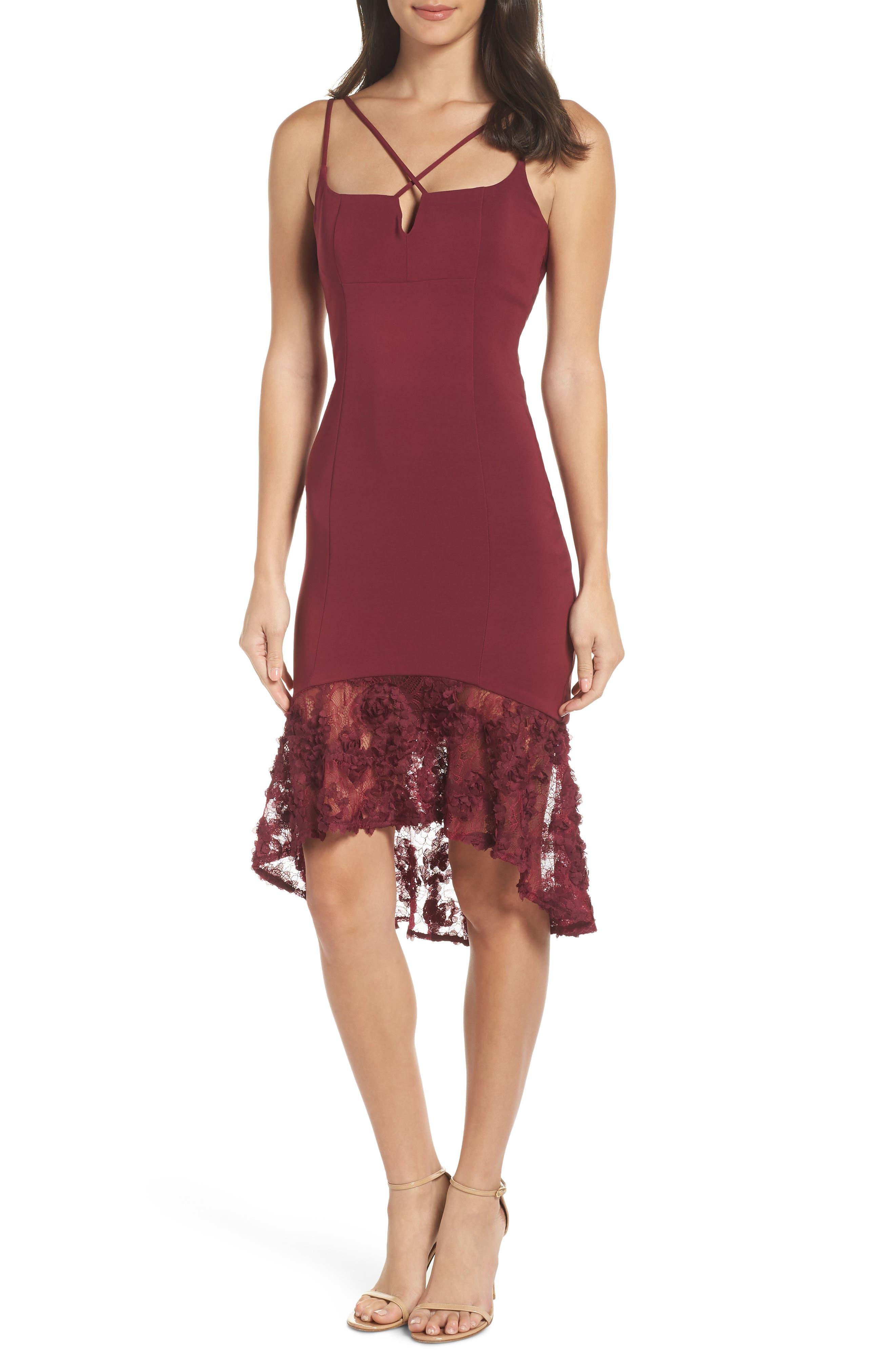 MARIA BIANCA NERO Mackenna Body-Con Dress in Burgundy
