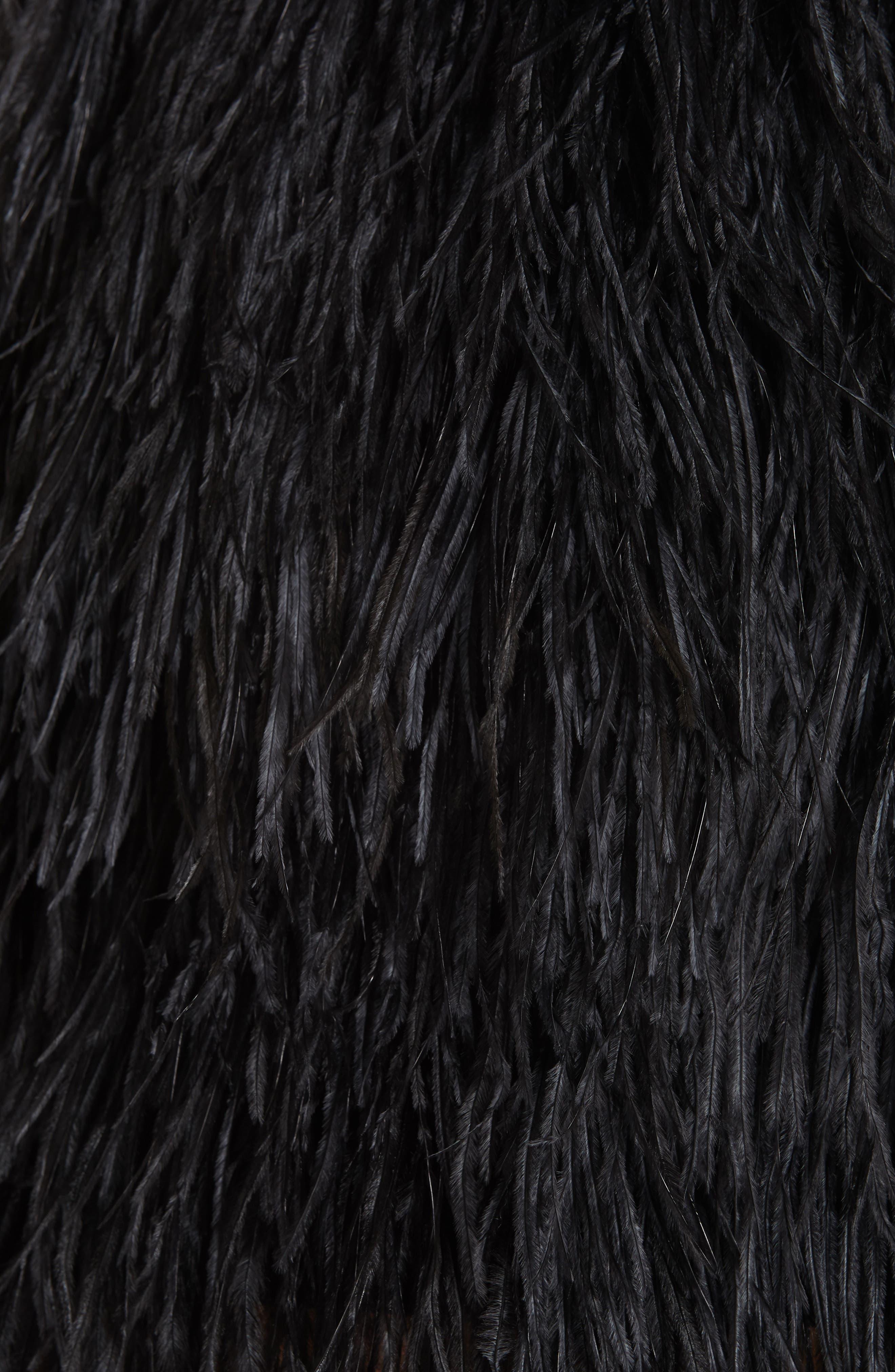 Ostrich Feather Miniskirt,                             Alternate thumbnail 5, color,                             001