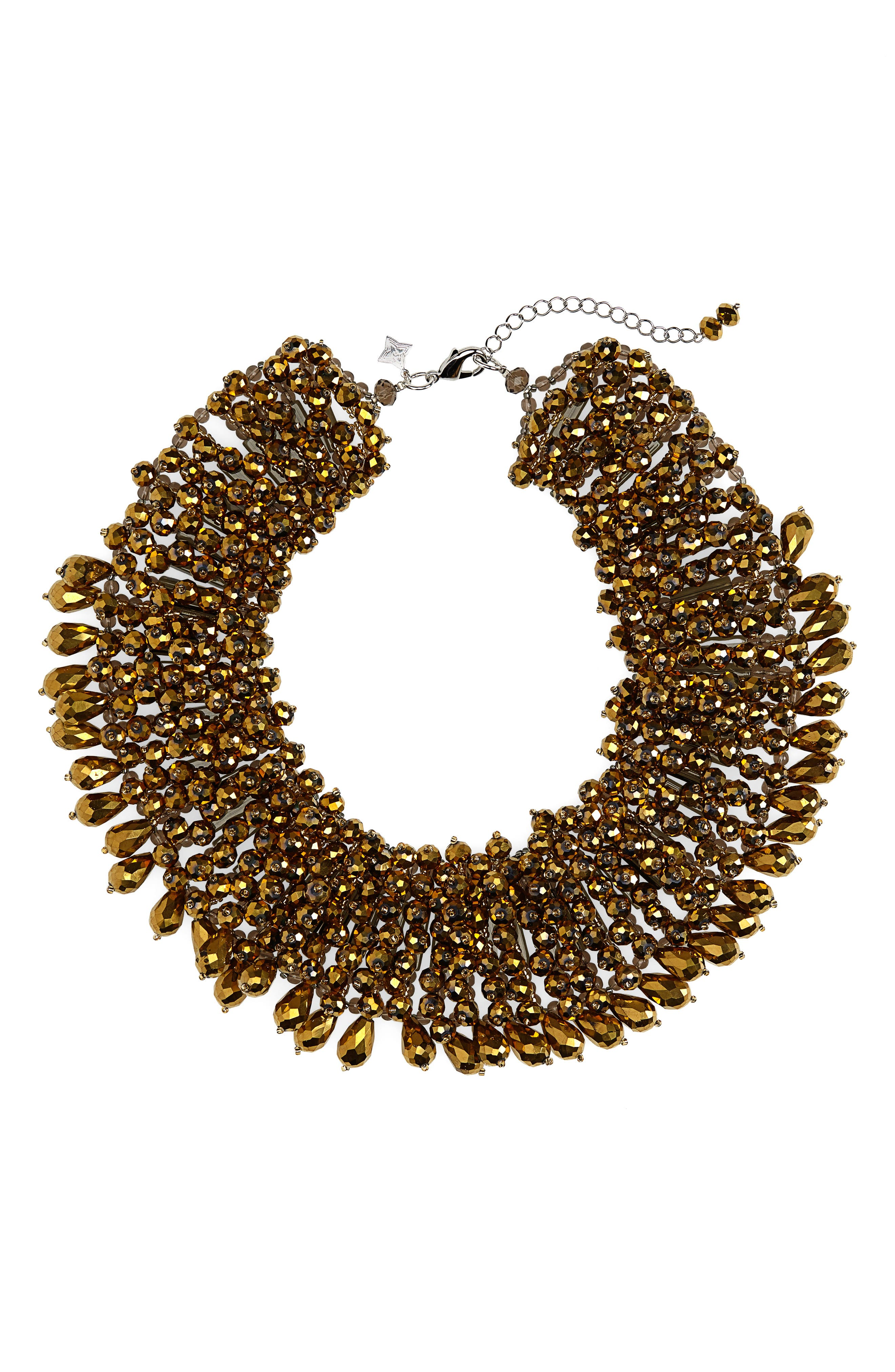 PANACEA Crystal Statement Collar Necklace in Gold