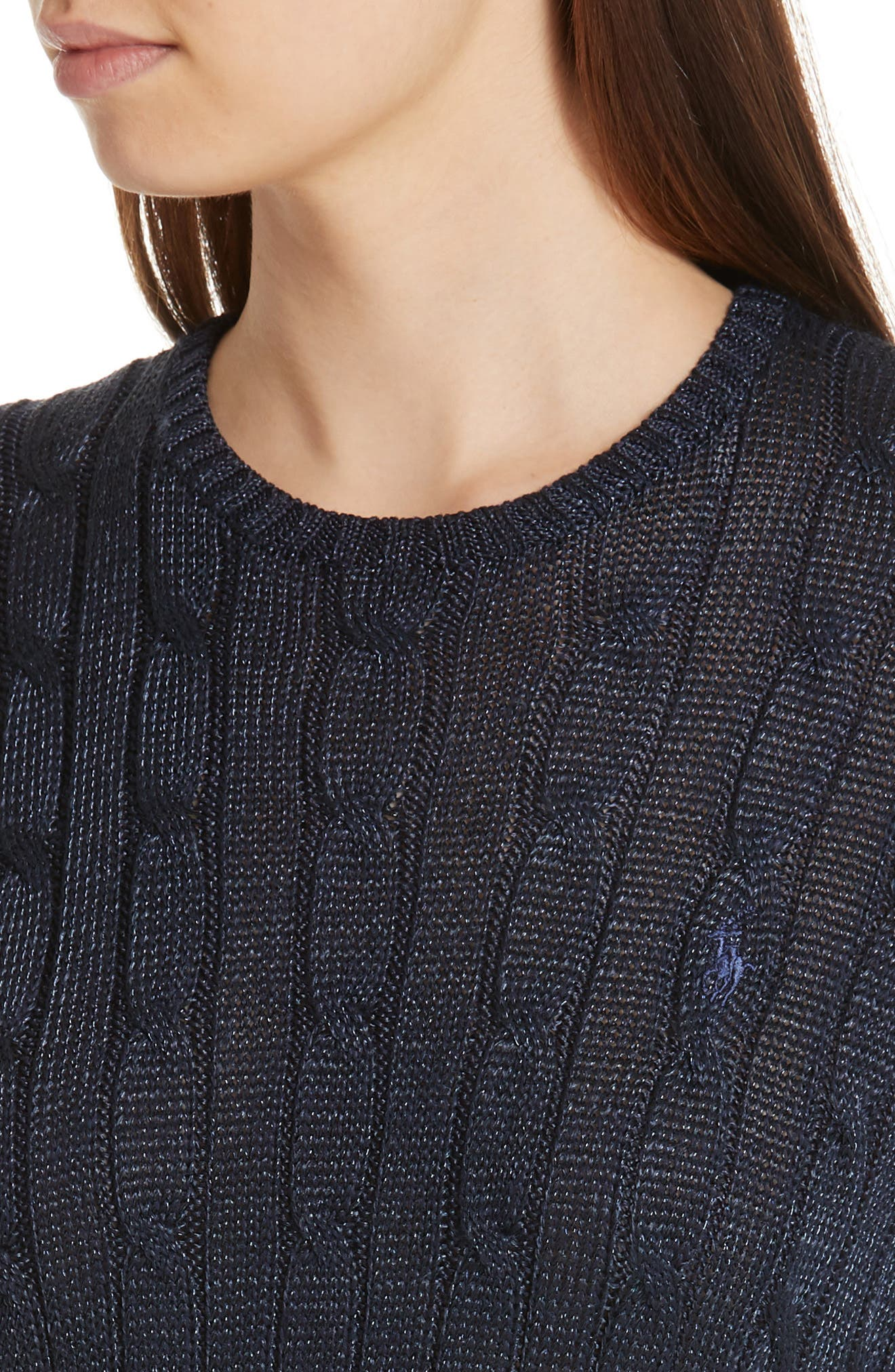 Cable Sweater,                             Alternate thumbnail 4, color,                             NAVY METALLIC