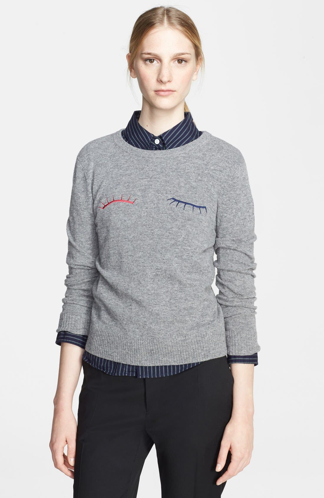 Eyelash Felted Wool Sweater,                             Main thumbnail 1, color,                             066