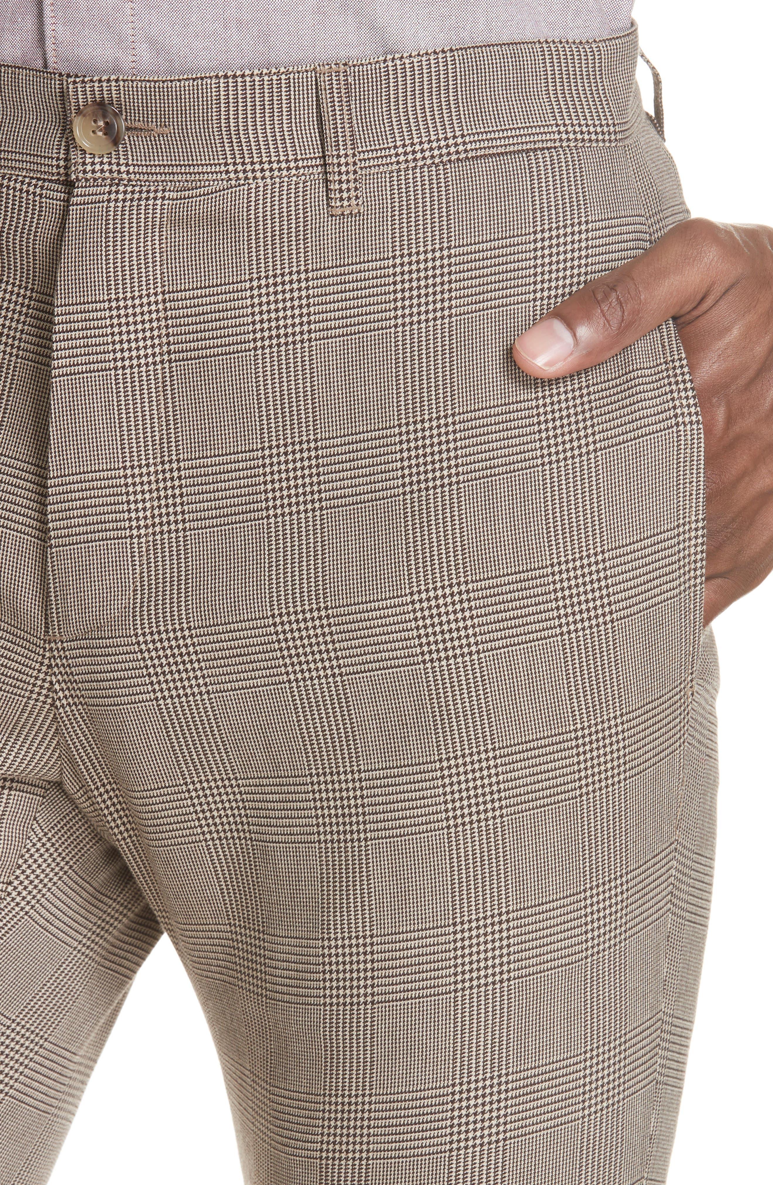 Check Wool Blend Pants,                             Alternate thumbnail 4, color,                             BAC BEIGE