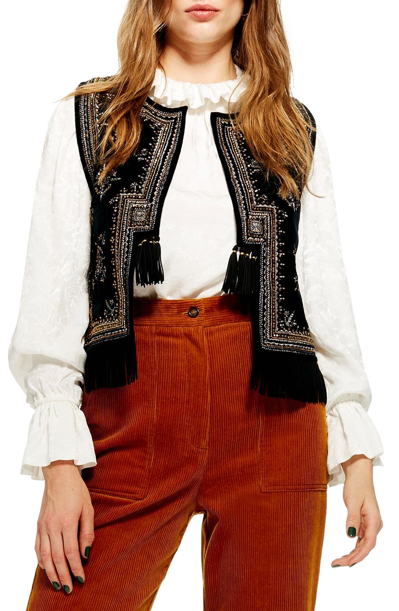 Embroidered Waistcoat Vest,                             Main thumbnail 1, color,                             001