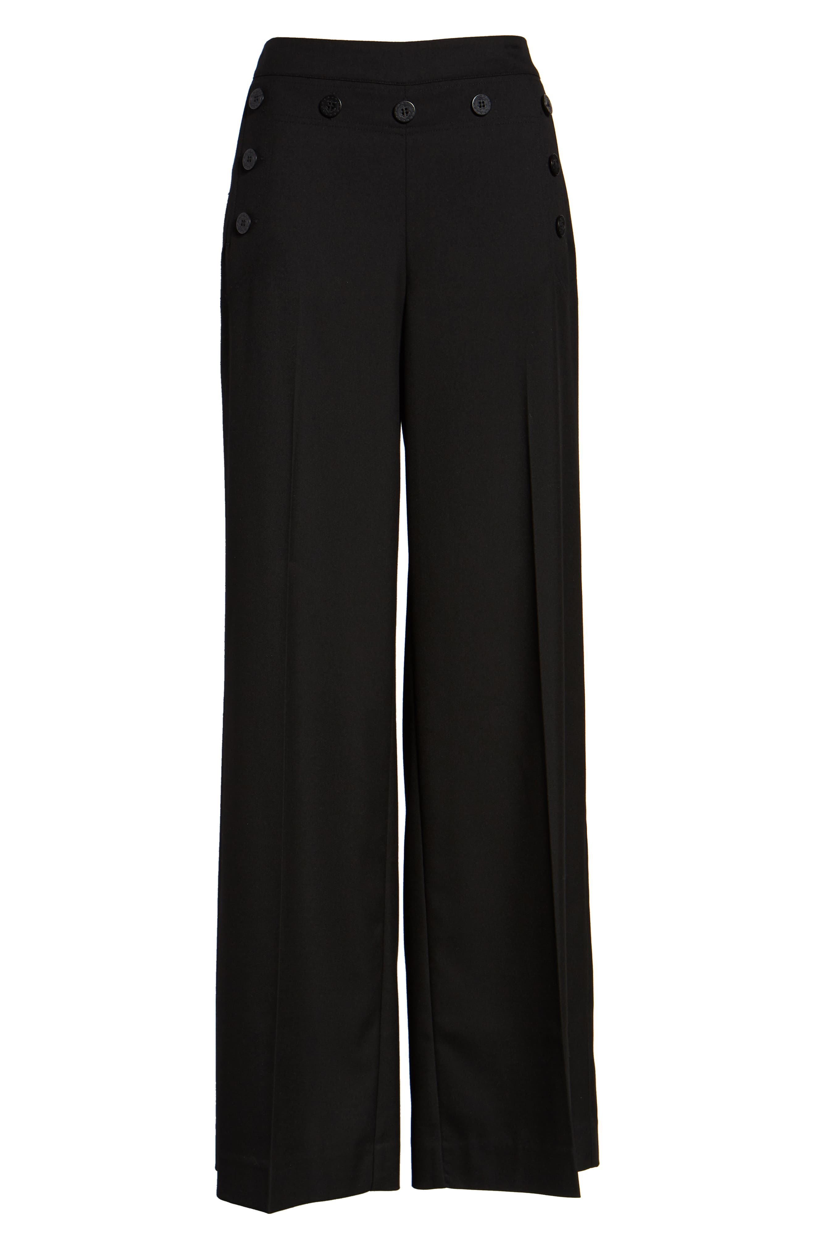 Button Detail Wide Leg Sailor Pants,                             Alternate thumbnail 6, color,                             001