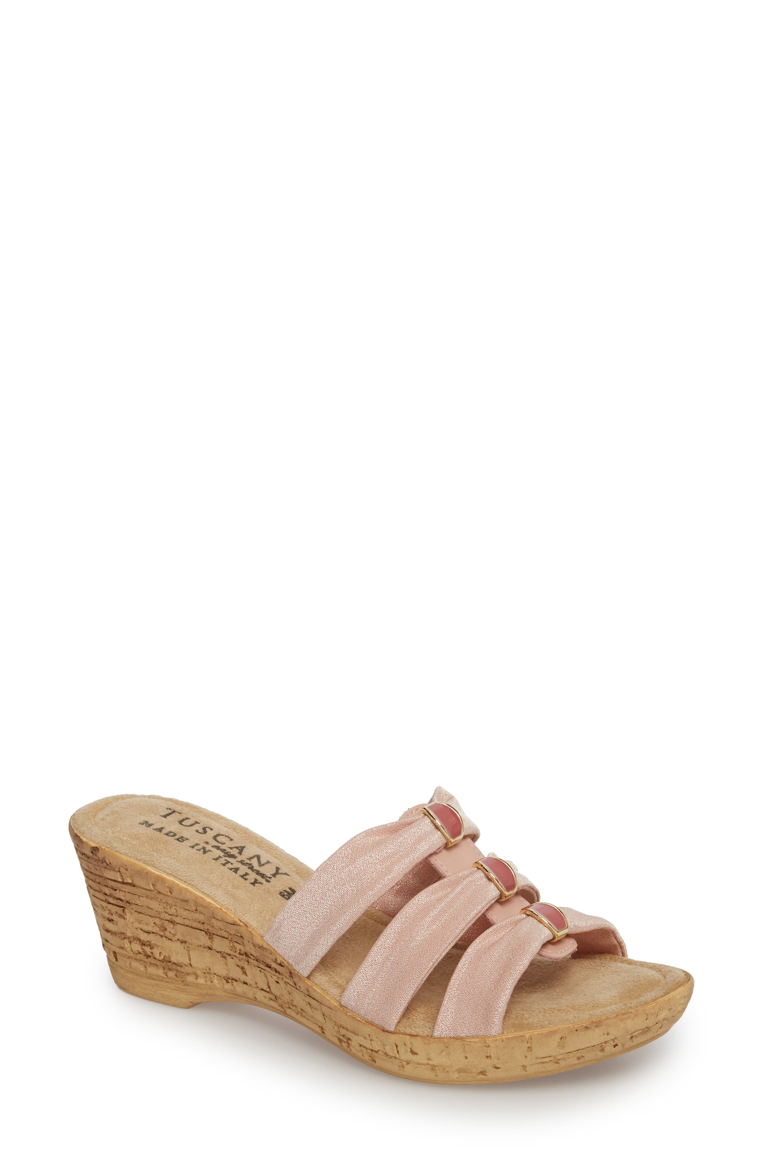Tuscany By Easy Street Andrea Wedge Slide Sandal, WW - Pink
