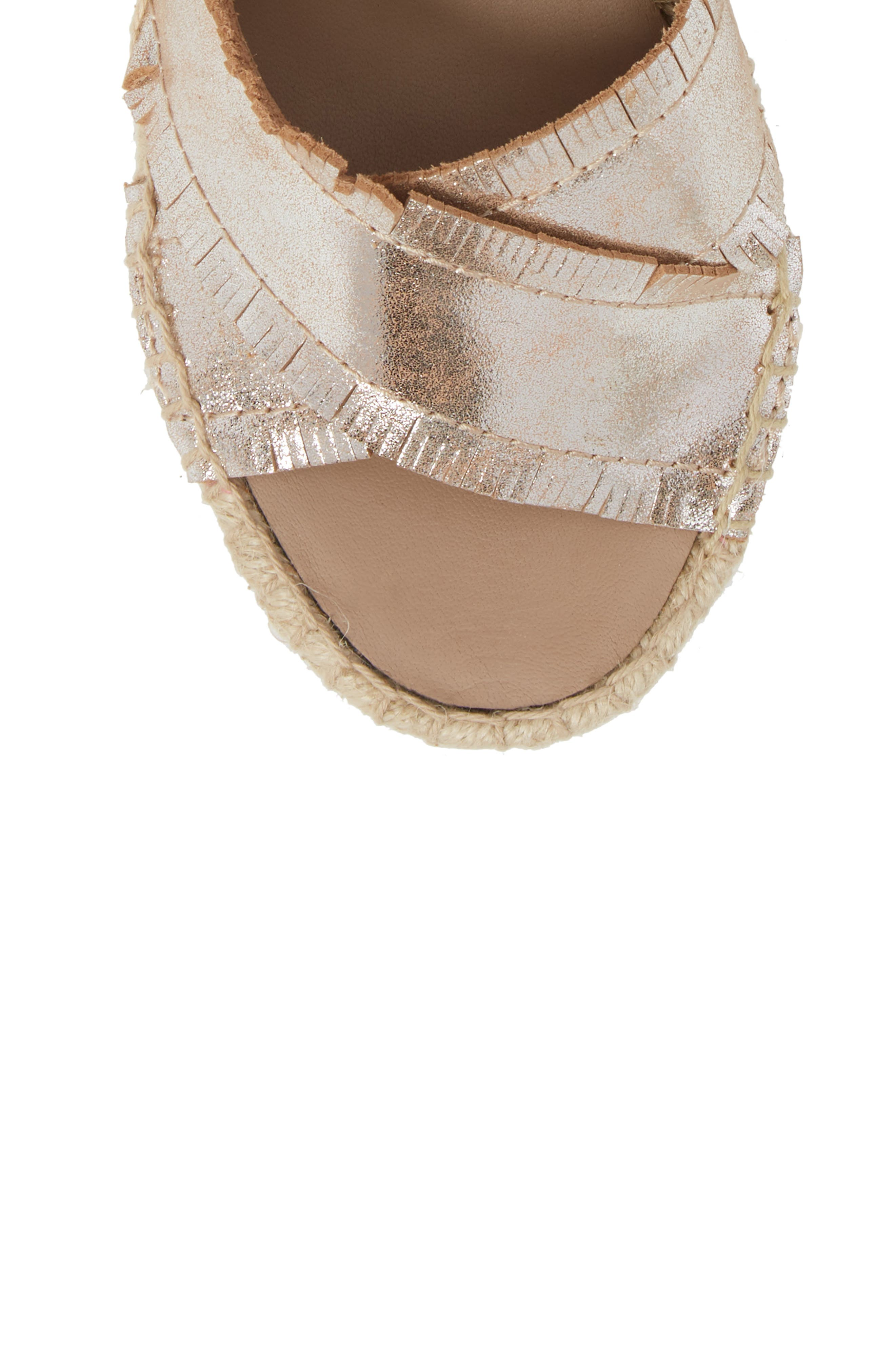 Ines Espadrille Wedge Sandal,                             Alternate thumbnail 5, color,                             SILVER LEATHER