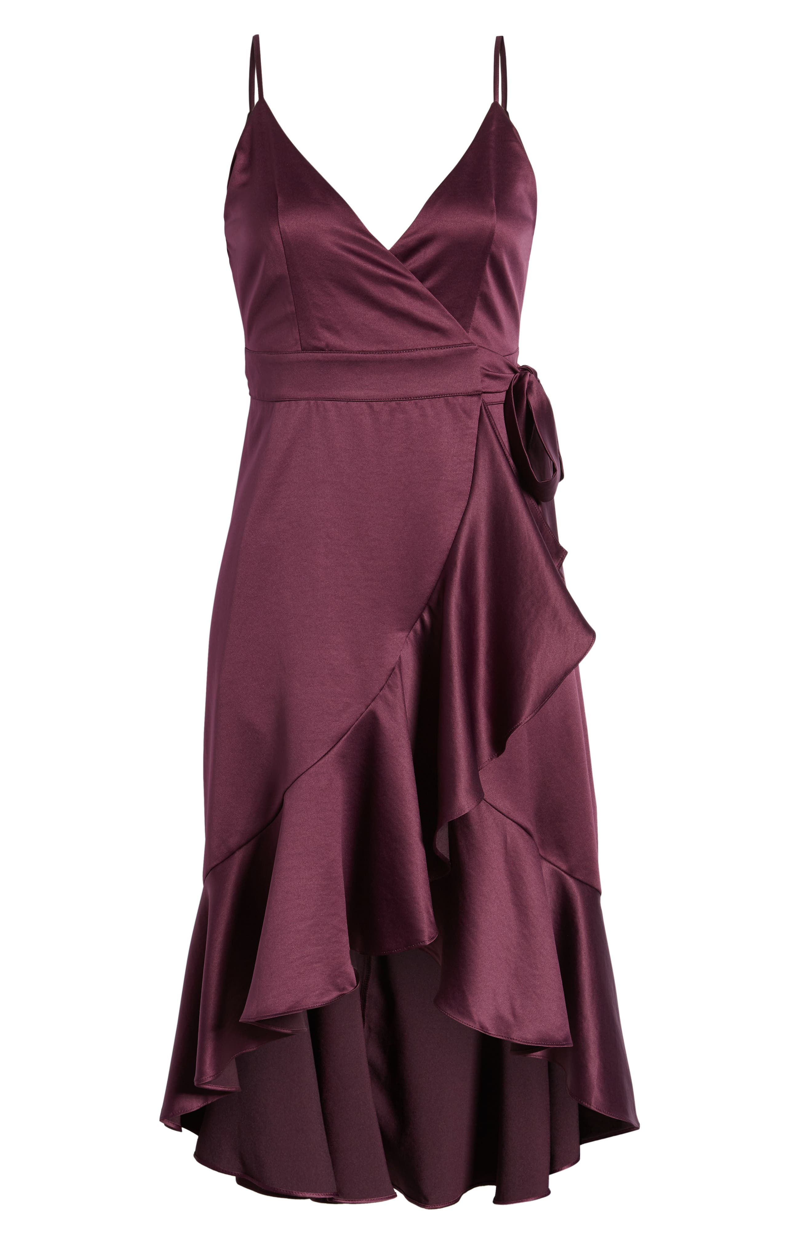BAND OF GYPSIES,                             Payton Ruffled High/Low Dress,                             Alternate thumbnail 7, color,                             PLUM