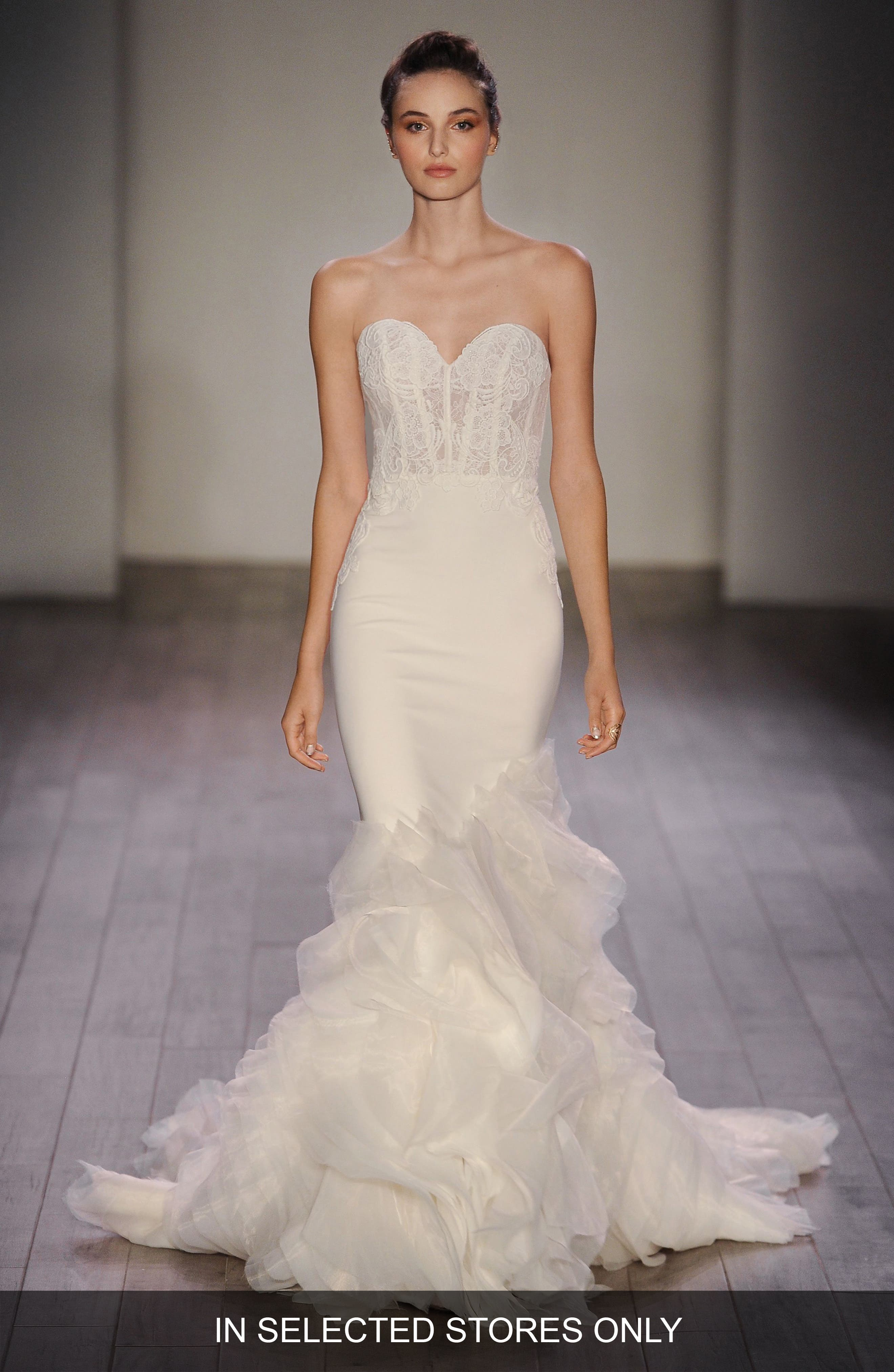 Strapless Lace, Crepe & Organza Trumpet Gown,                             Alternate thumbnail 5, color,                             IVORY