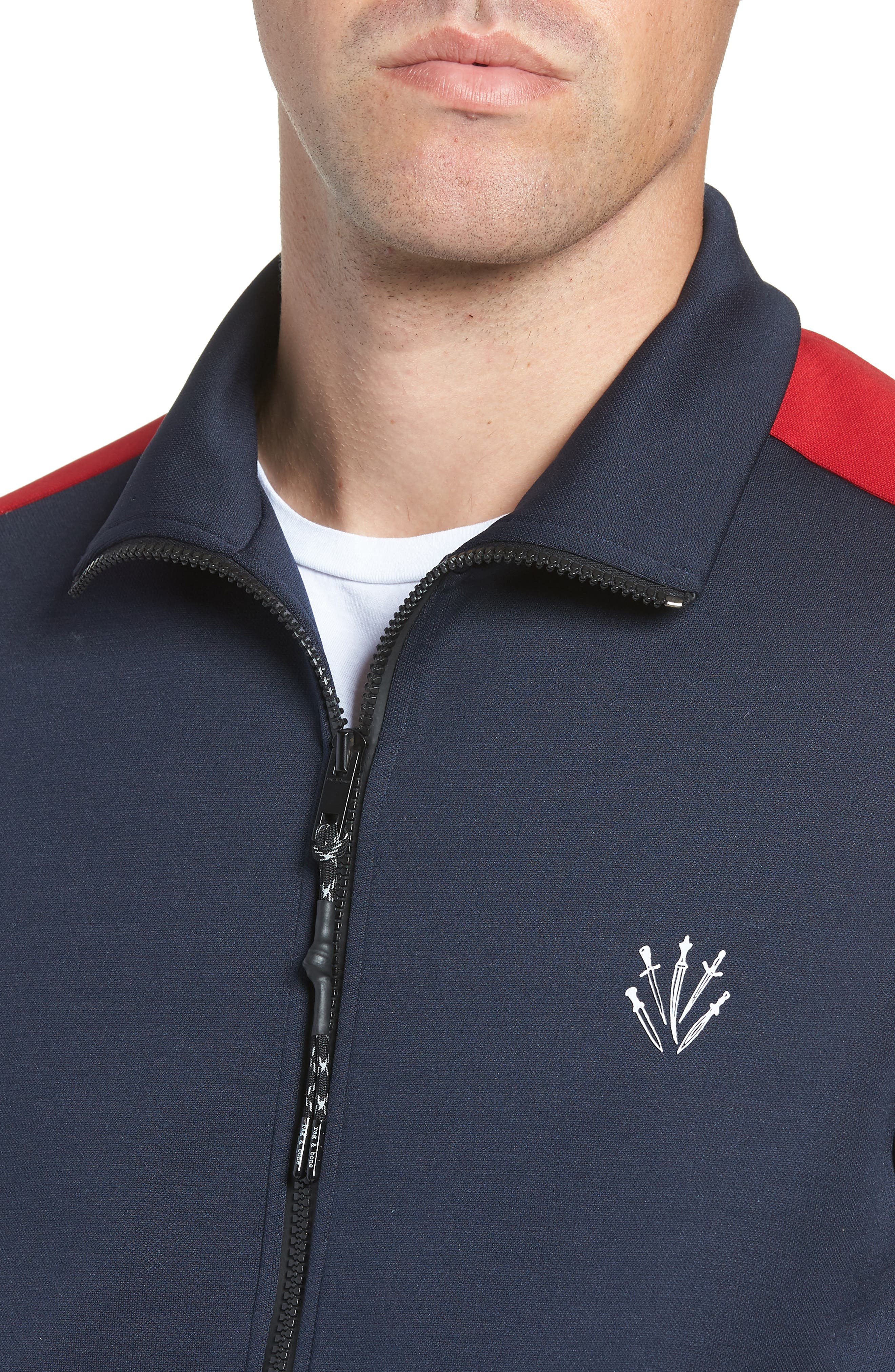 Club Slim Track Jacket,                             Alternate thumbnail 4, color,                             NAVY/ RED