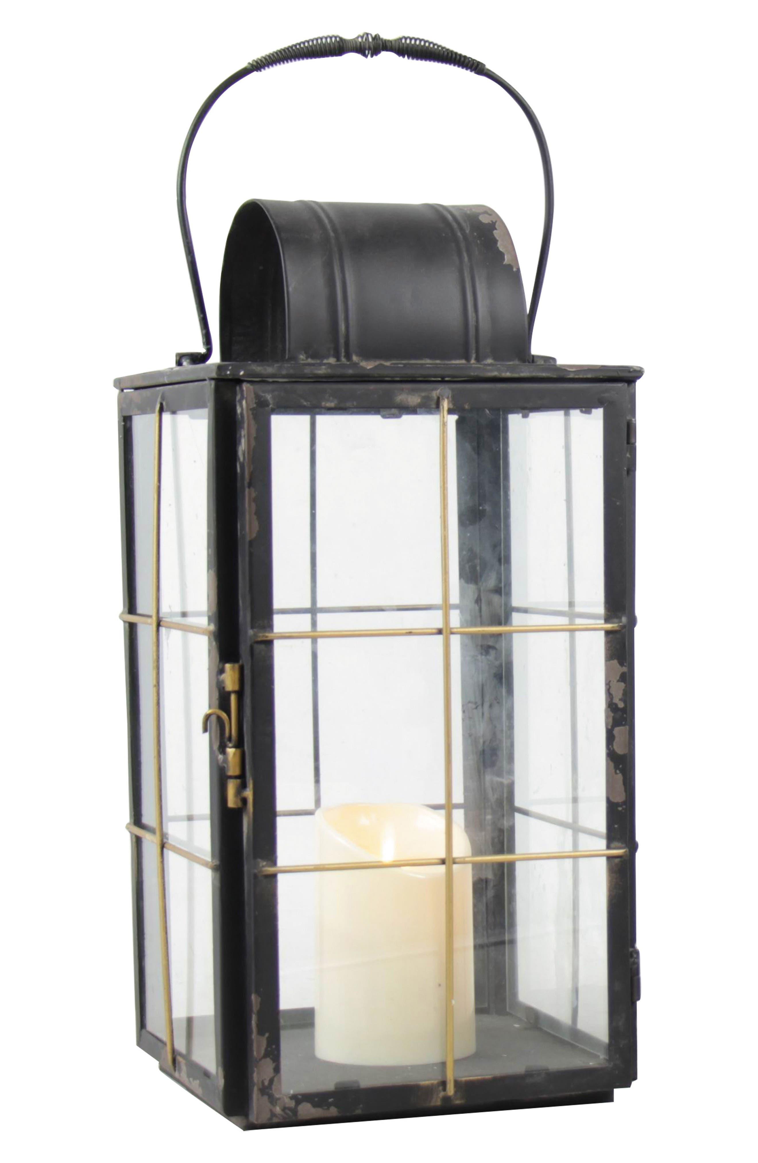 Large Holiday Cottage Metal Lantern,                             Main thumbnail 1, color,                             001
