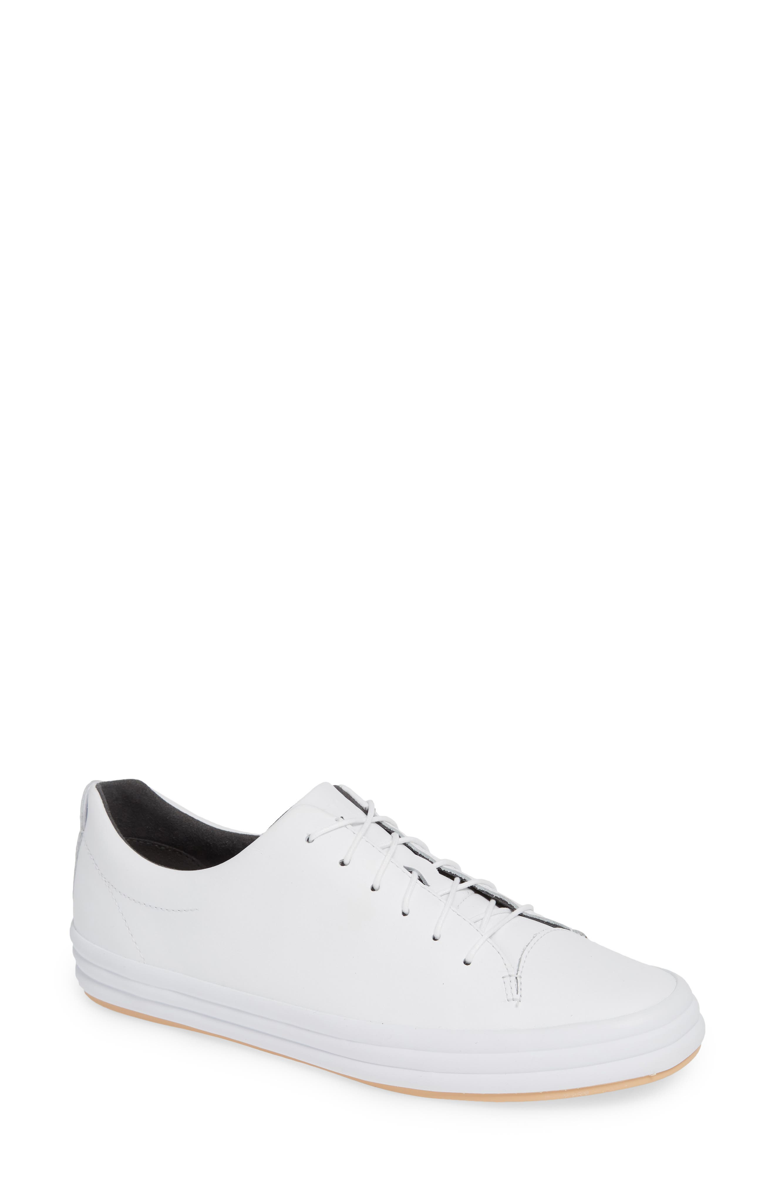 Hoops Sneaker,                             Main thumbnail 1, color,                             WHITE LEATHER