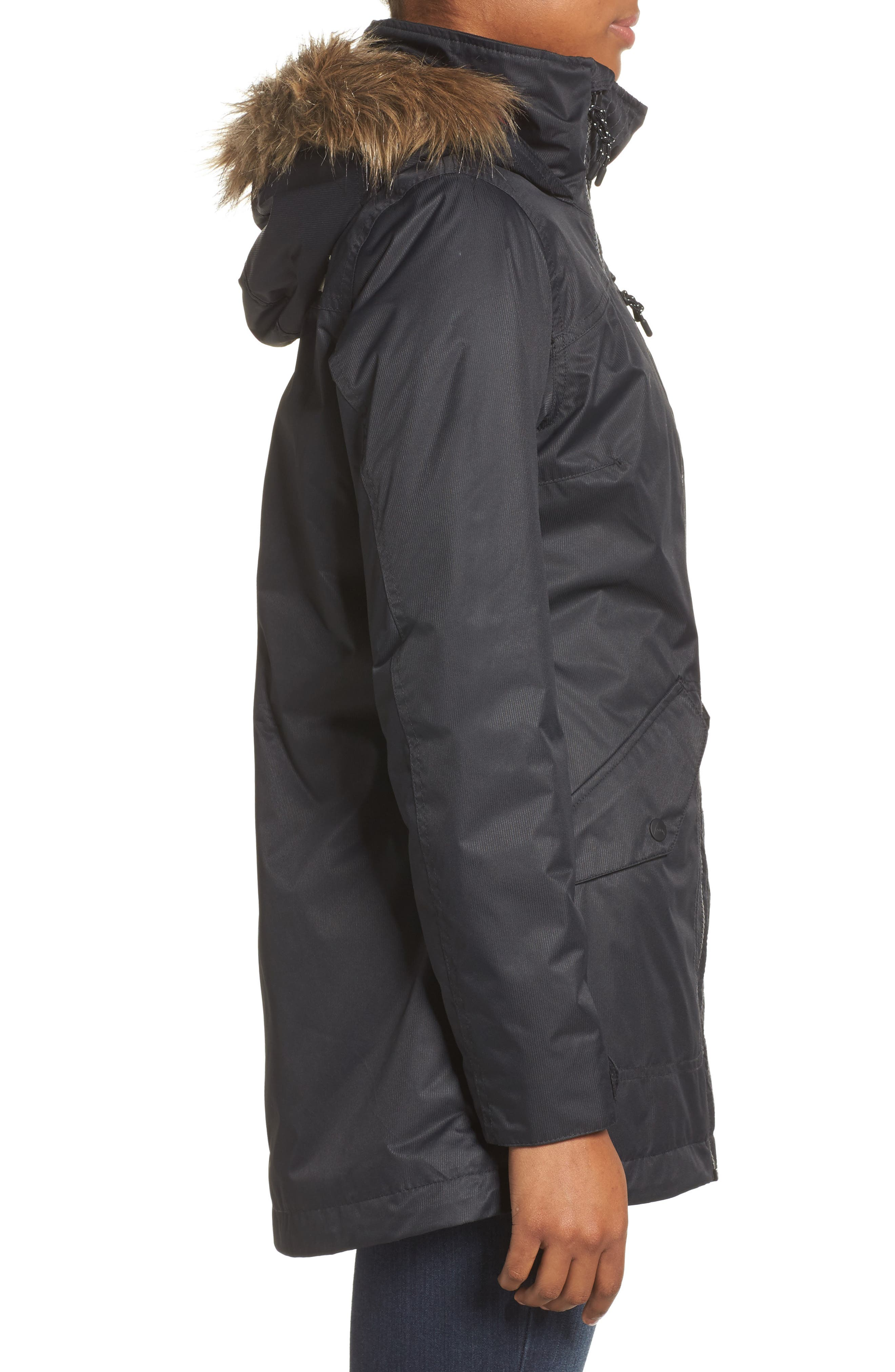 Hazel Waterproof Hooded Jacket with Removable Faux Fur Trim,                             Alternate thumbnail 3, color,                             001