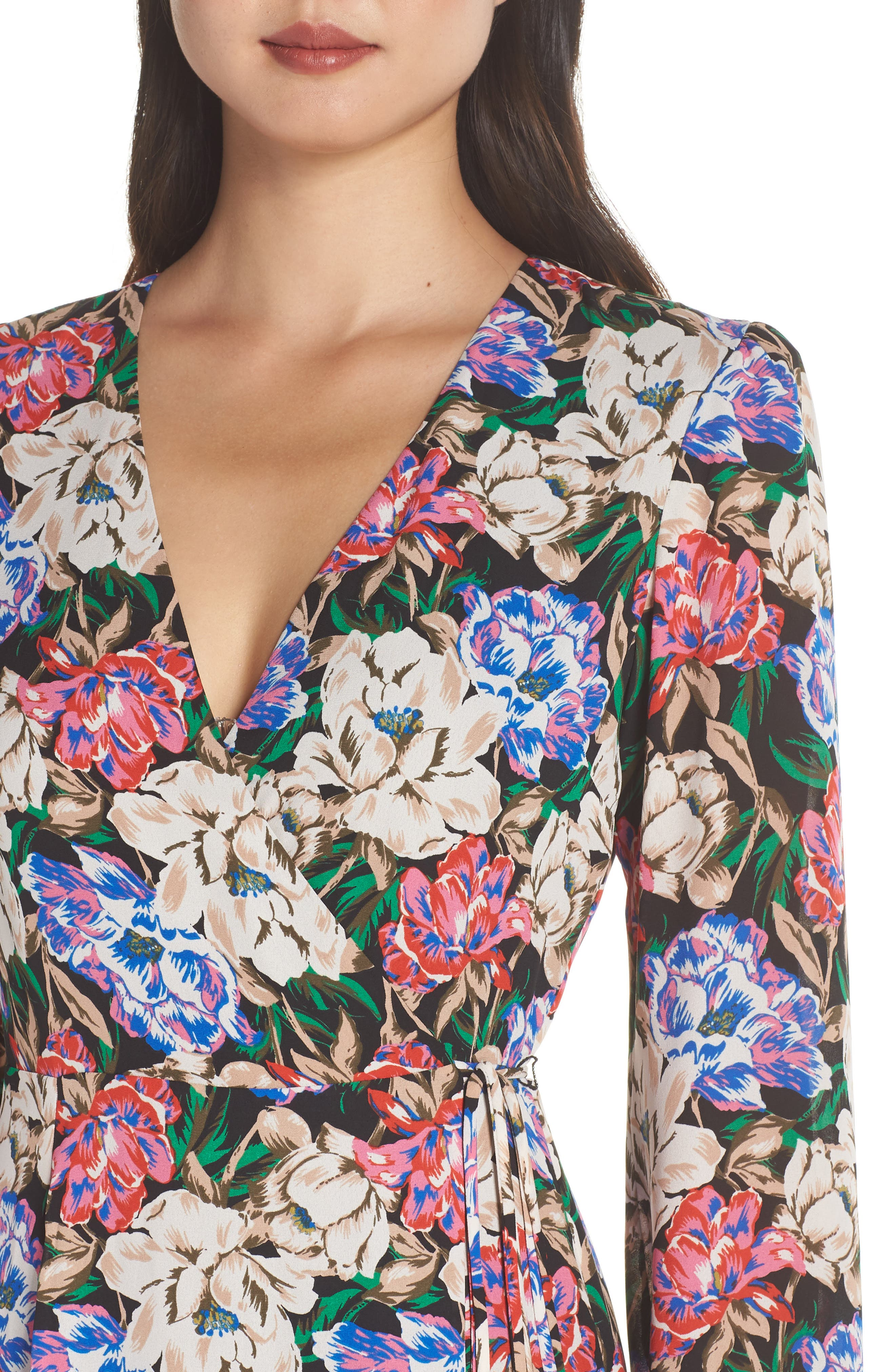 Lila Long Sleeve Wrap Gown,                             Alternate thumbnail 4, color,                             MIDNIGHT FLORAL
