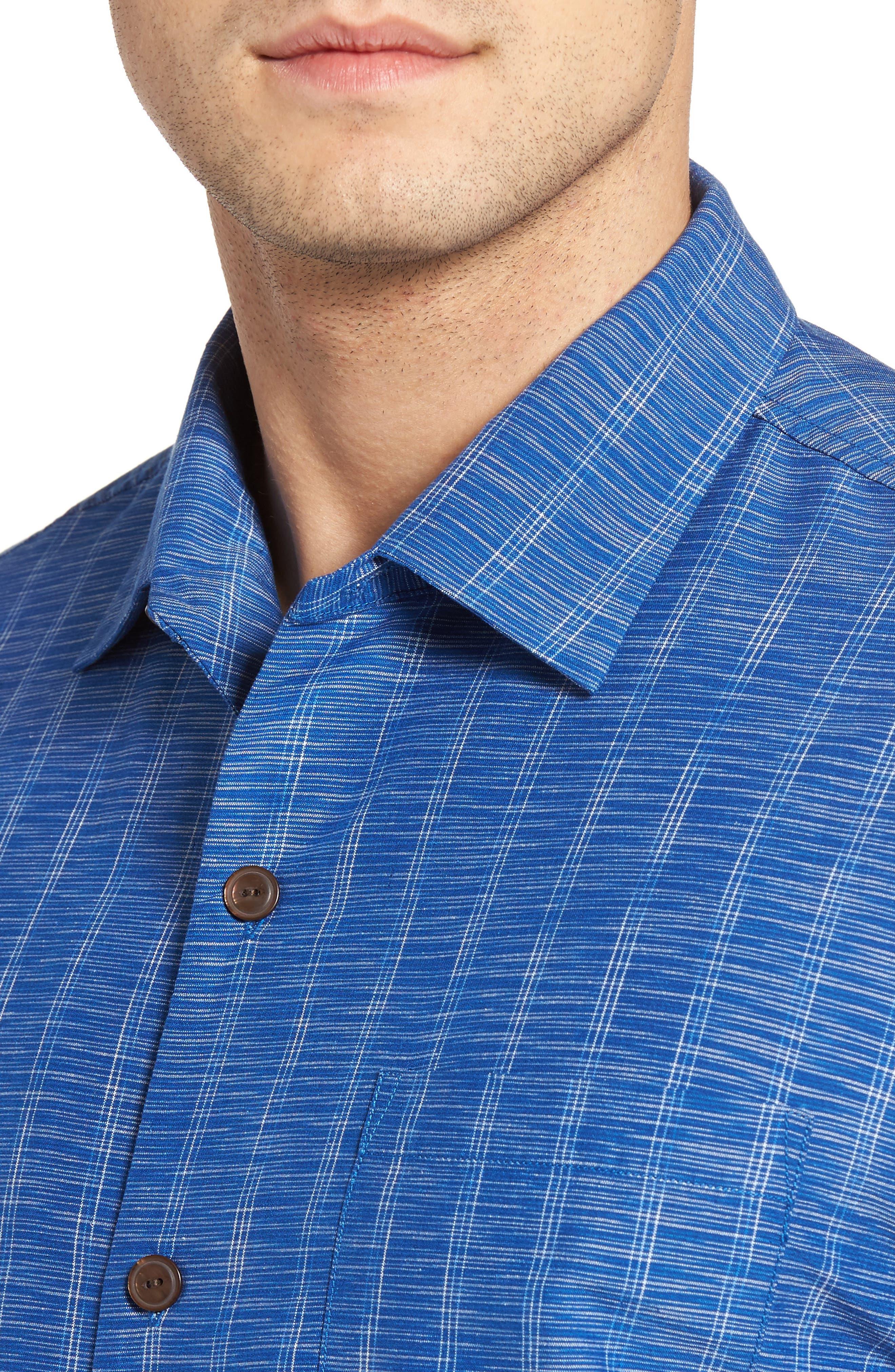 Seismic Stripe Silk Sport Shirt,                             Alternate thumbnail 8, color,