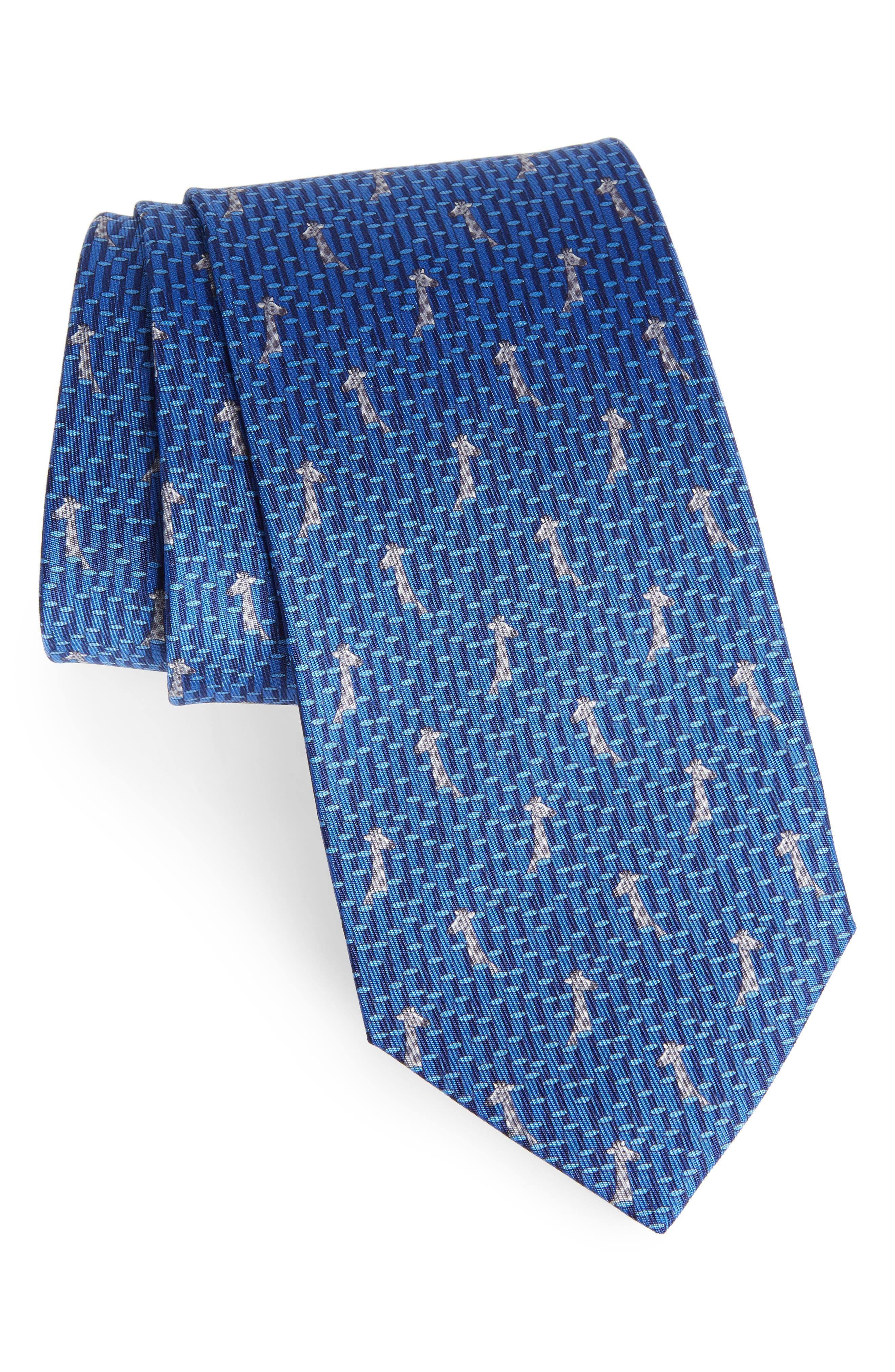 Giraffe Print Silk Tie,                         Main,                         color, 430