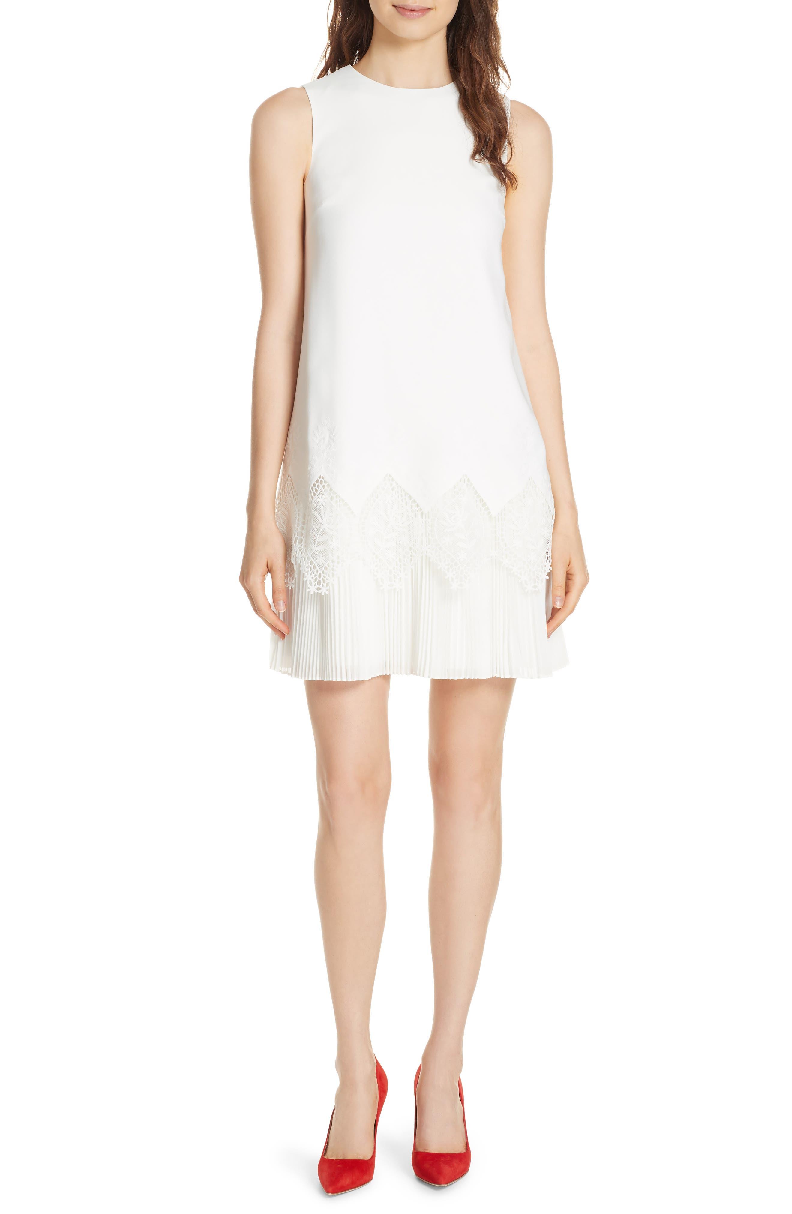Ted Baker London Pleat Lace Hem A-Line Dress