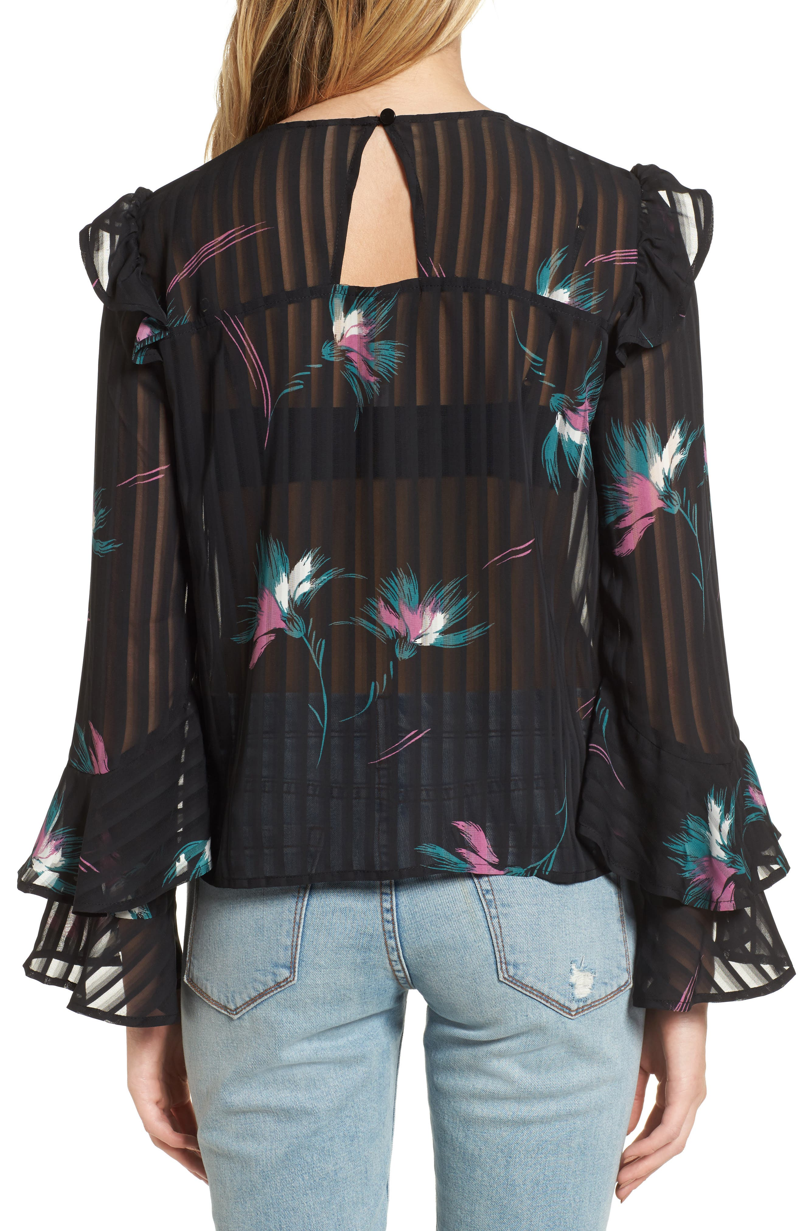 Ruffled Sheer Stripe Blouse,                             Alternate thumbnail 2, color,                             001