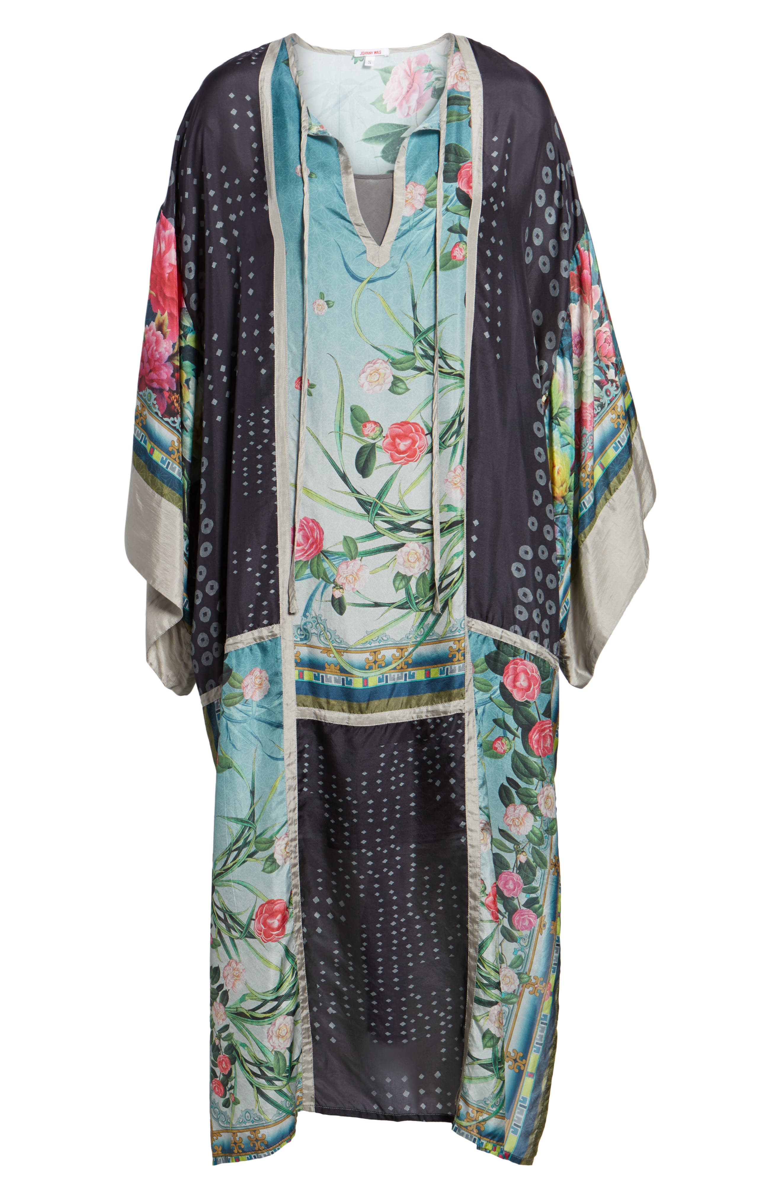 Camuba Heaven Silk Kimono Dress,                             Alternate thumbnail 6, color,                             010