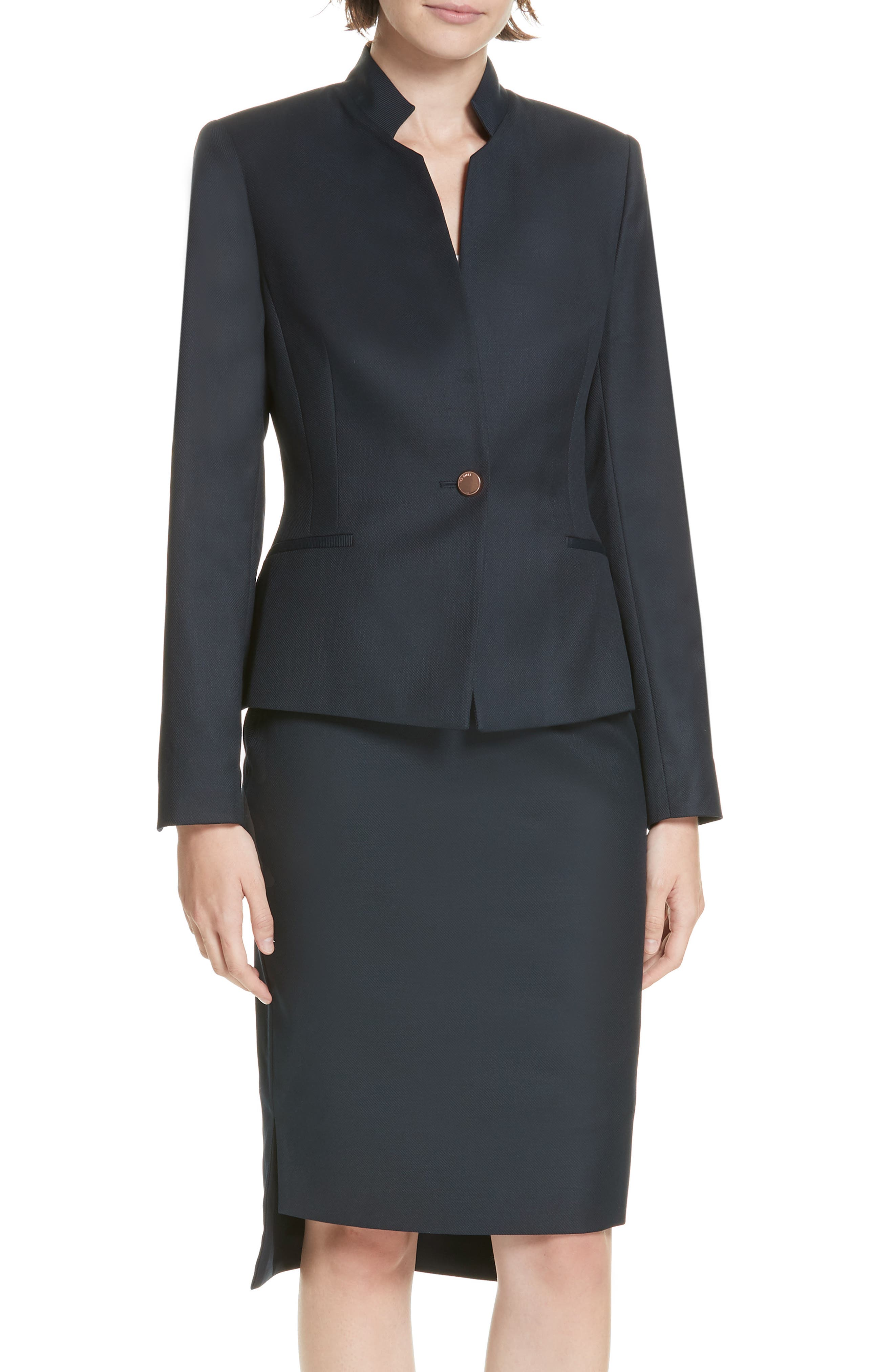 Ted Working Title Rivaa Tailored Jacket,                             Main thumbnail 1, color,                             DARK BLUE