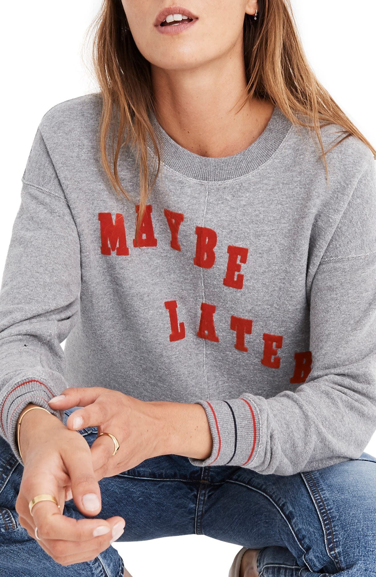 Maybe Later Mainstay Sweatshirt,                             Main thumbnail 1, color,                             HEATHER STONEWALL