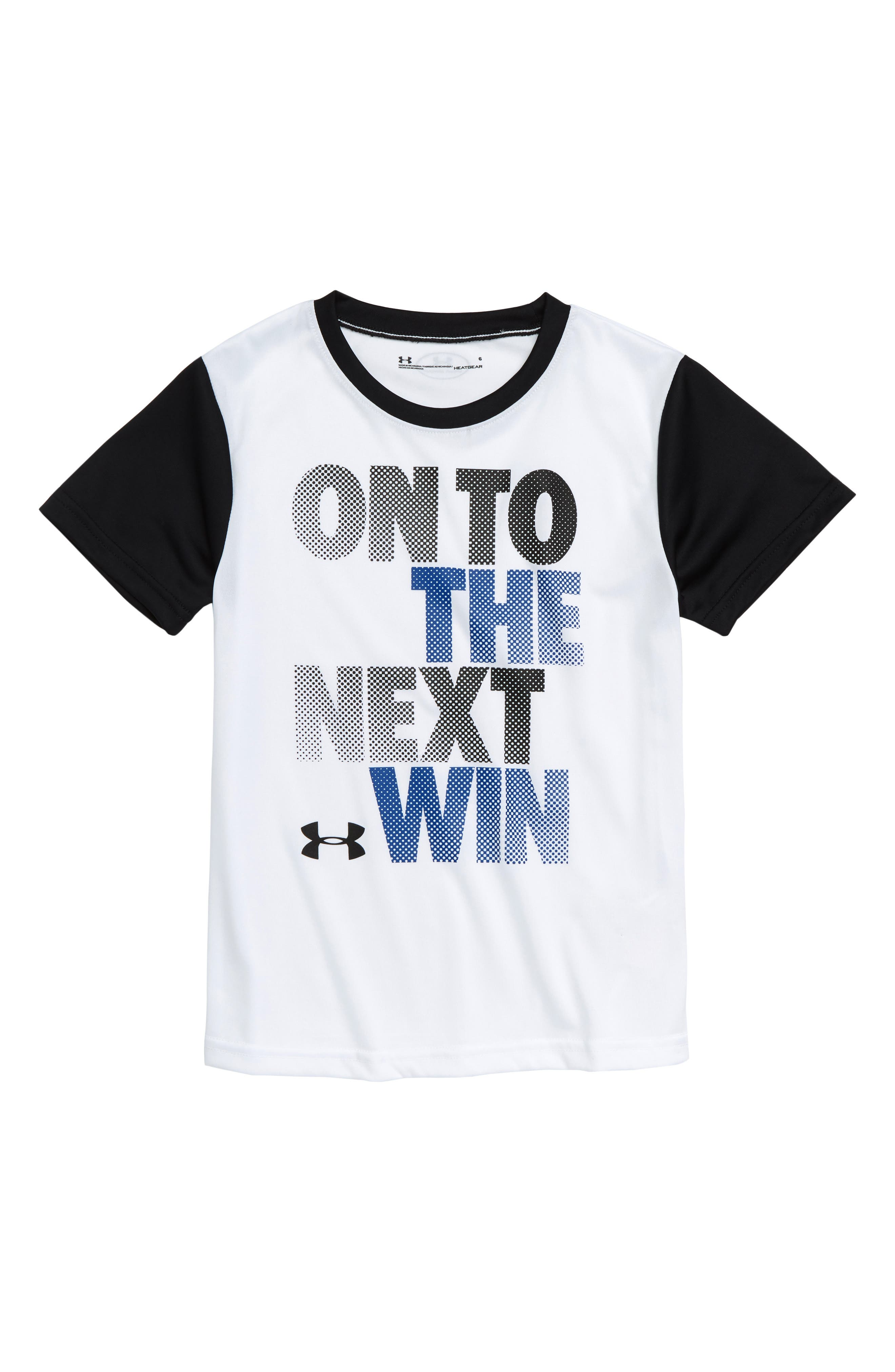 On to the Next Win HeatGear<sup>®</sup> T-Shirt,                         Main,                         color, WHITE