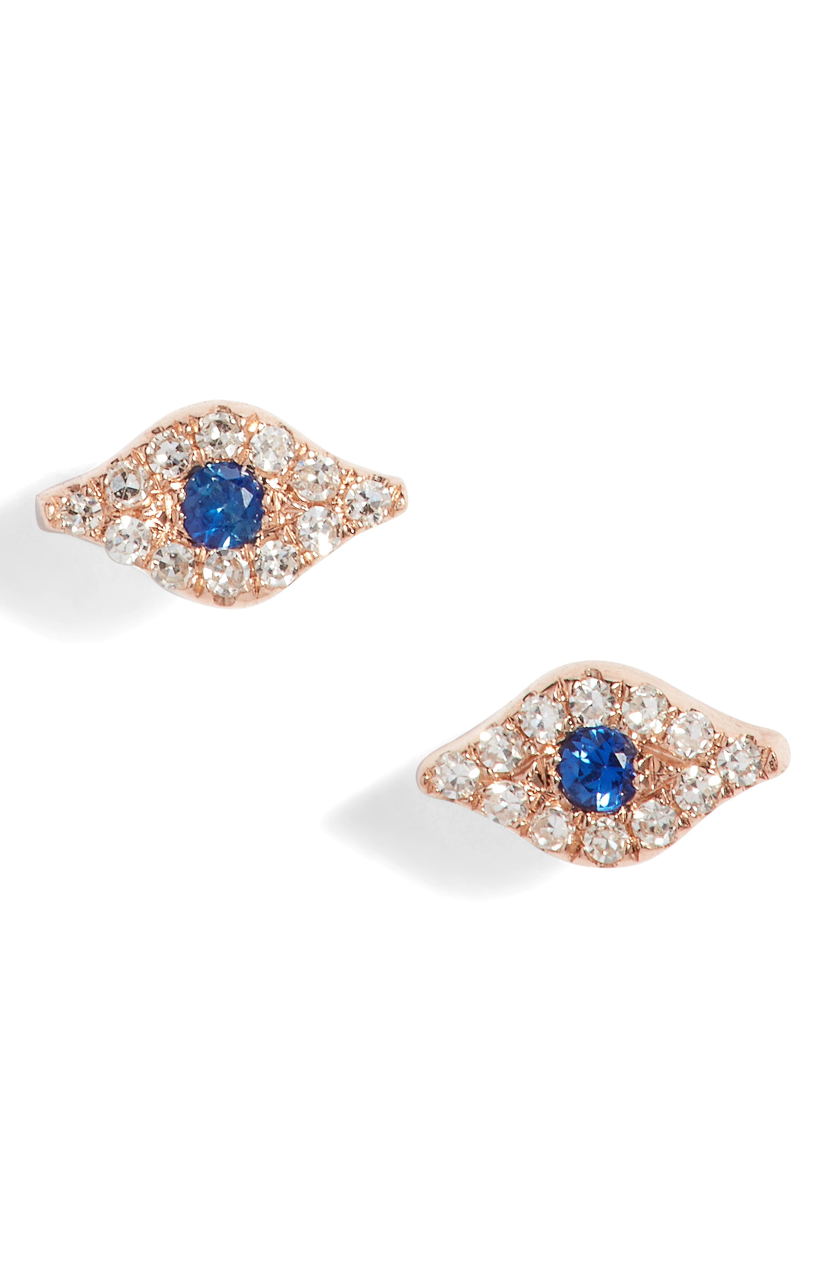 Evil Eye Diamond & Sapphire Stud Earrings,                             Main thumbnail 1, color,                             ROSE GOLD