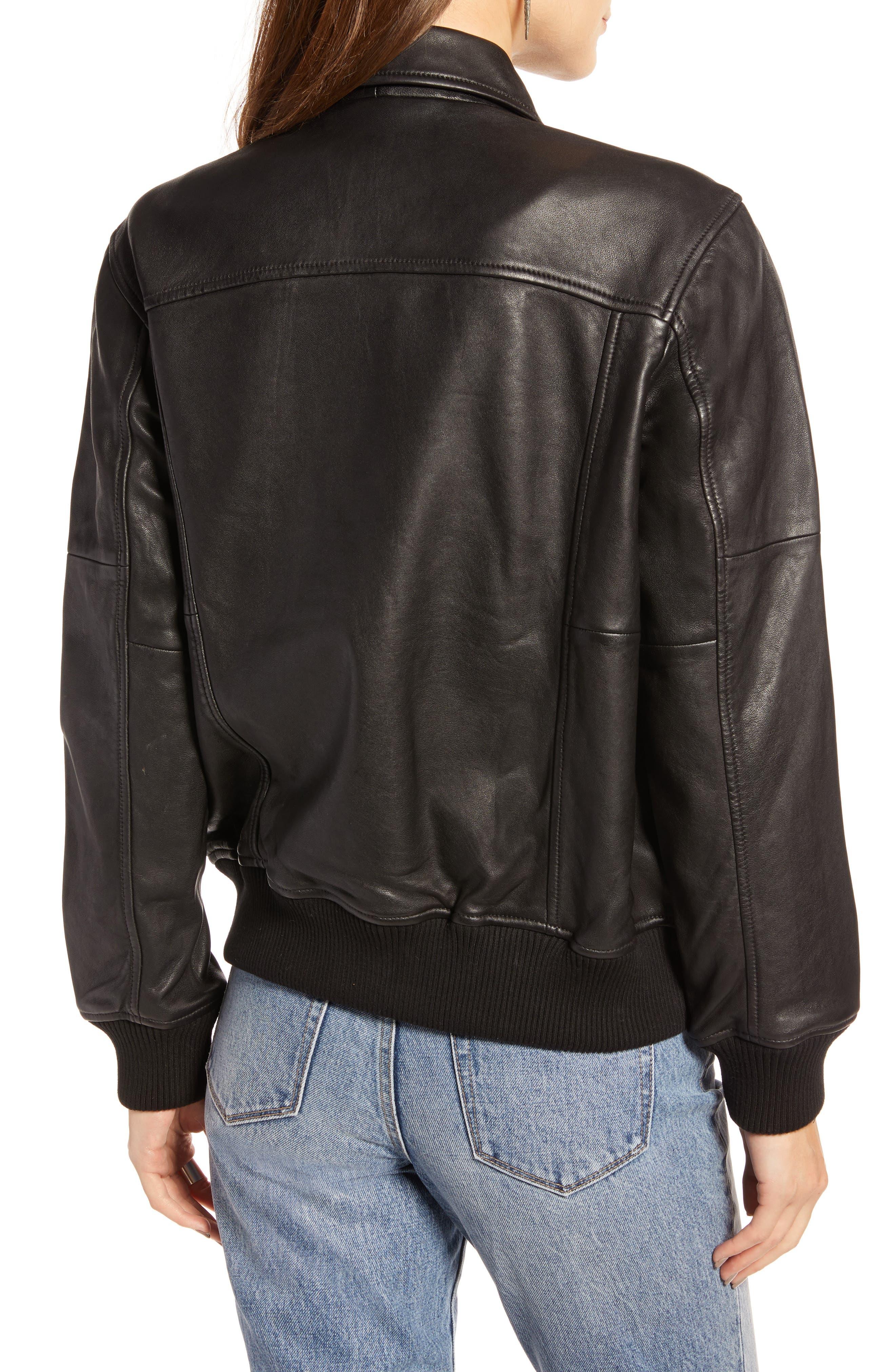 Leather Aviator Jacket,                             Alternate thumbnail 2, color,                             BLACK