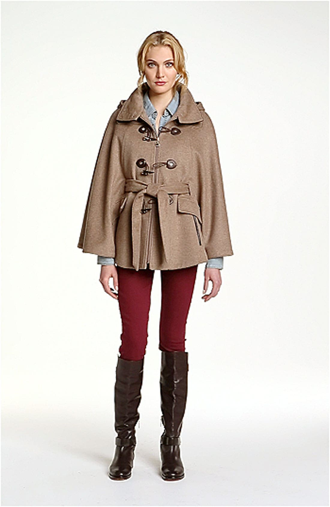 Hooded Toggle Cape,                             Alternate thumbnail 4, color,                             250