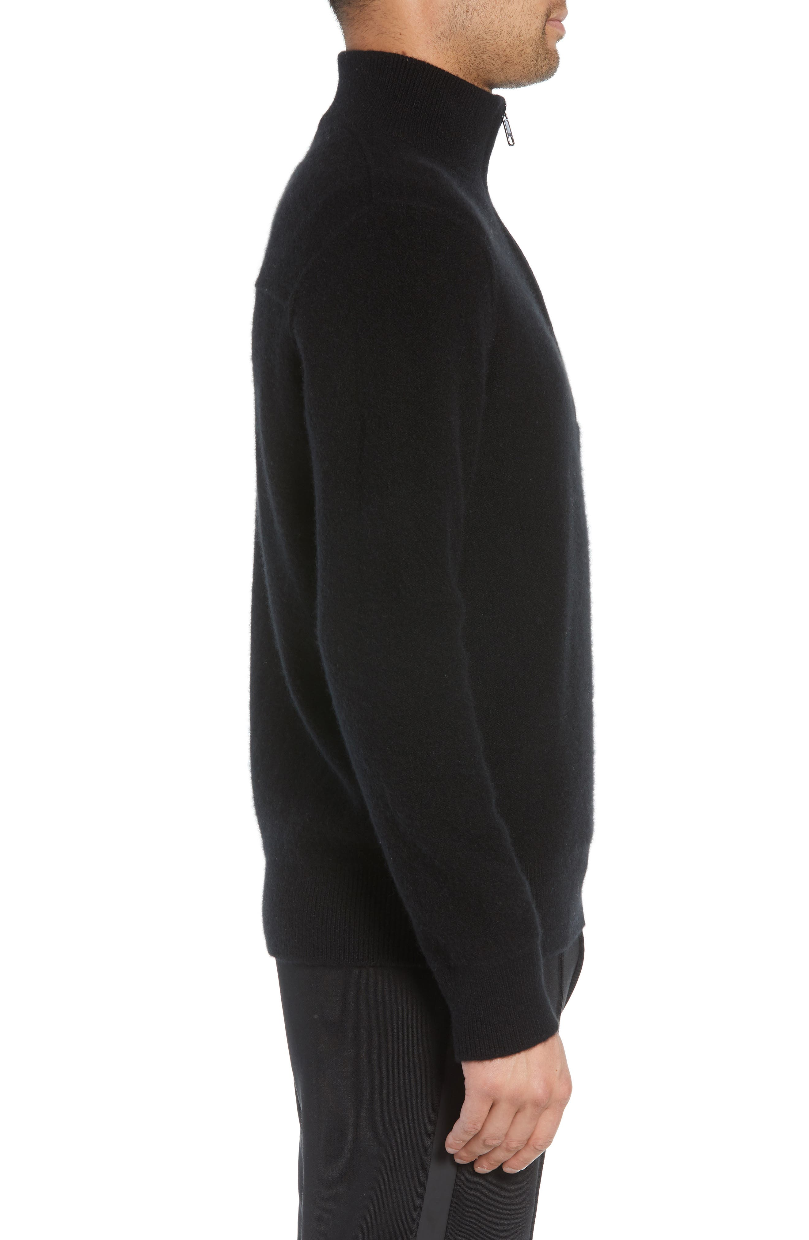 Regular Fit Half Zip Cashmere Sweater,                             Alternate thumbnail 3, color,                             001