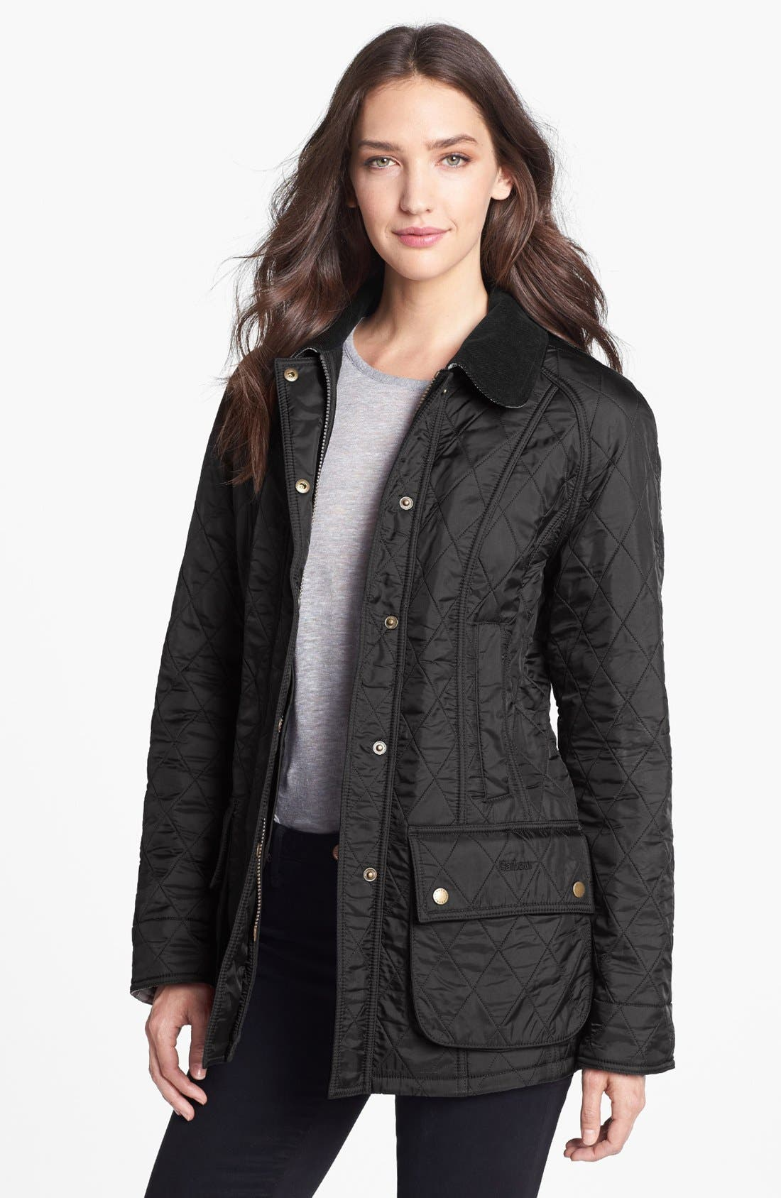 'Beadnell' Quilted Jacket,                         Main,                         color, BLACK/ BLACK