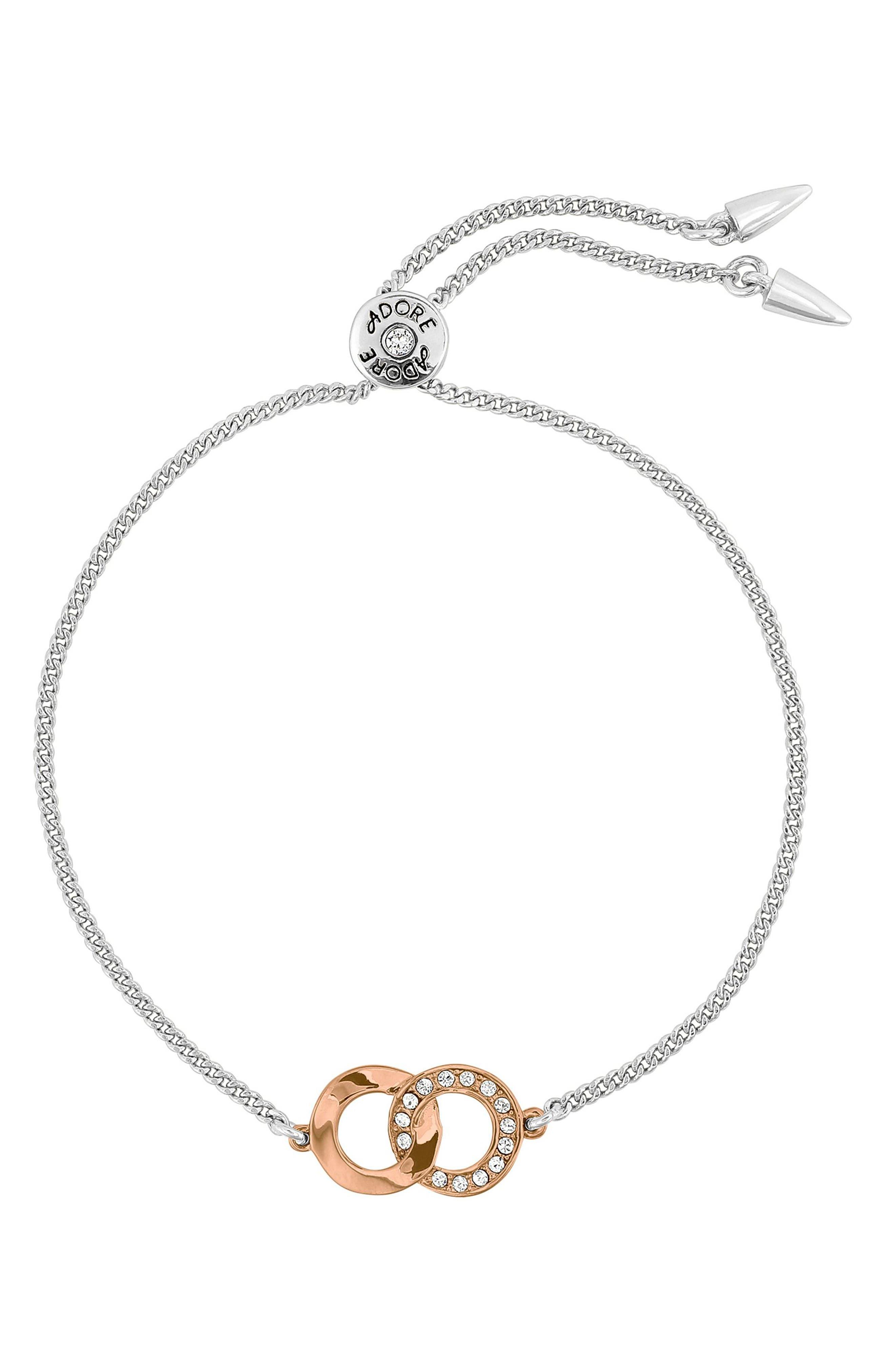 ADORE Interlocking Ring Adjustable Bracelet in Silver/ Rose Gold
