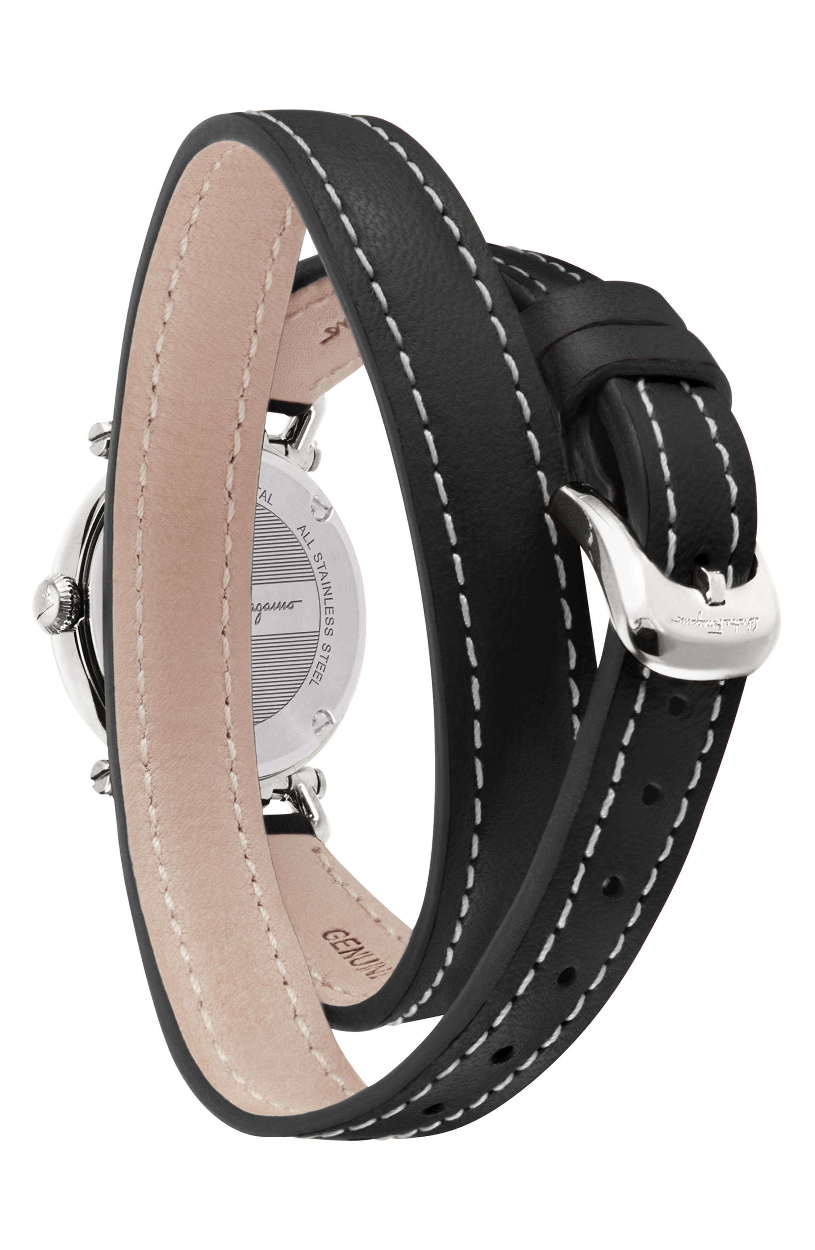 Gancino Leather Strap Watch, 26mm,                             Alternate thumbnail 2, color,                             BLACK/ SILVER