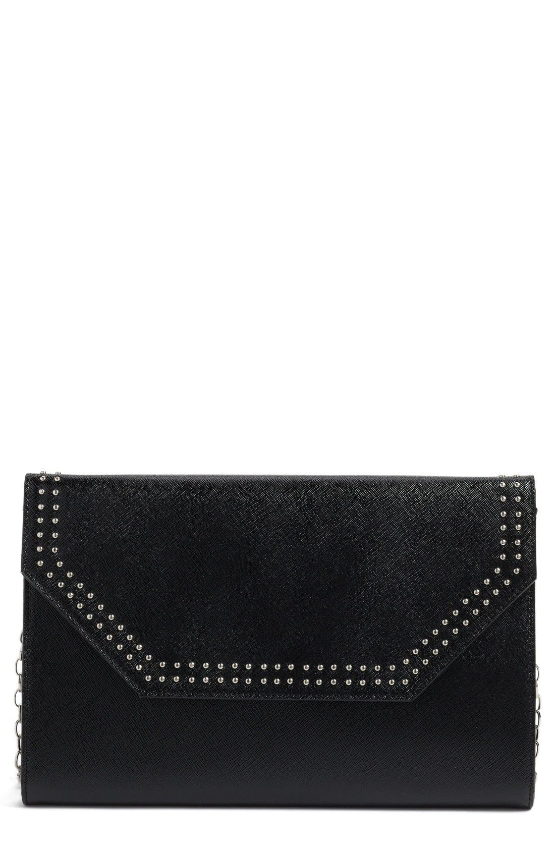 'Angle' Studded Leather Convertible Clutch,                             Main thumbnail 1, color,                             001