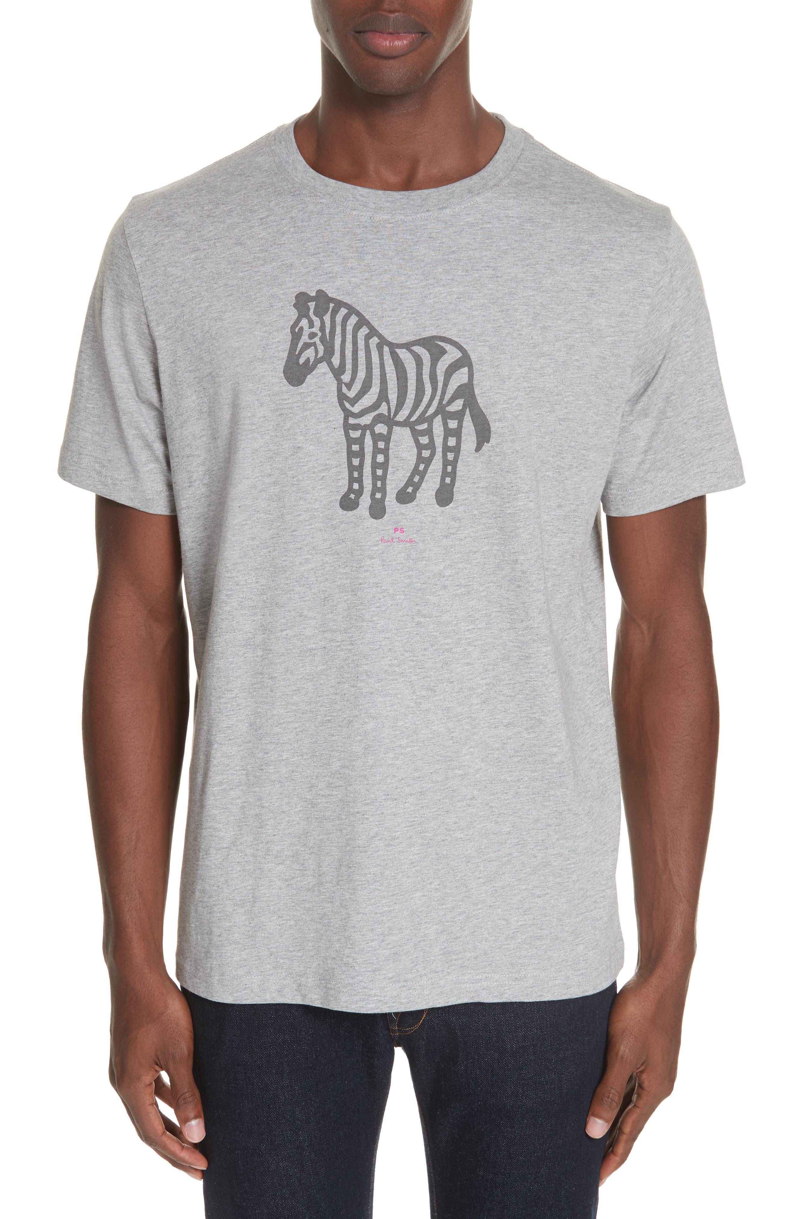 Zebra Organic Cotton T-Shirt,                             Main thumbnail 1, color,                             GREY