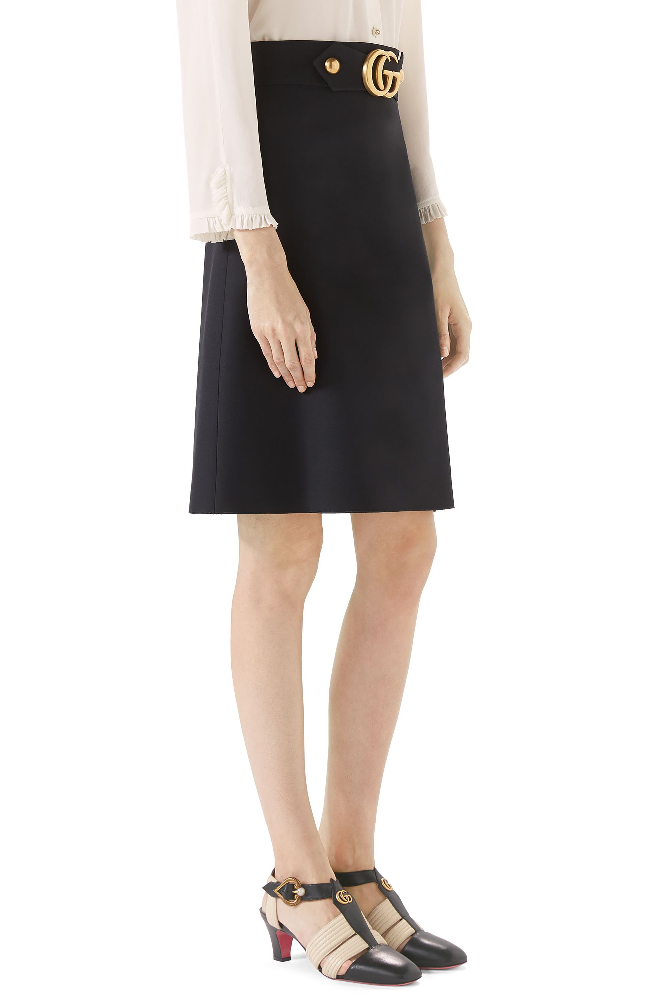Marmont Wool & Silk Cady Crepe A-Line Skirt,                             Alternate thumbnail 3, color,                             BLACK
