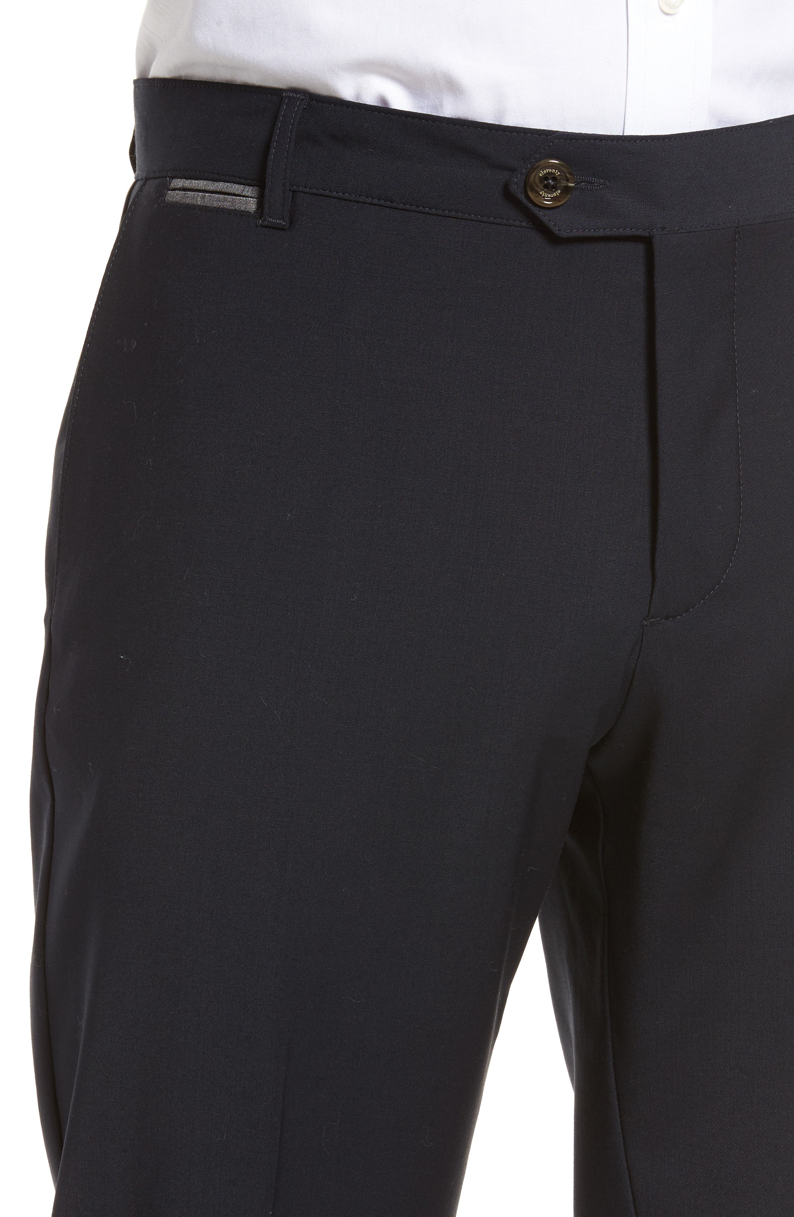 Flat Front Stretch Solid Wool Trousers,                             Alternate thumbnail 8, color,