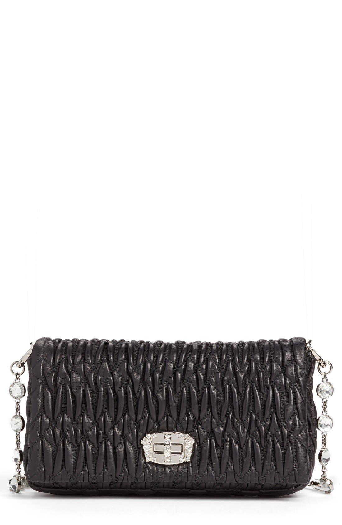 Small Crystal Embellished Nappa Shoulder Bag,                             Main thumbnail 1, color,                             NERO