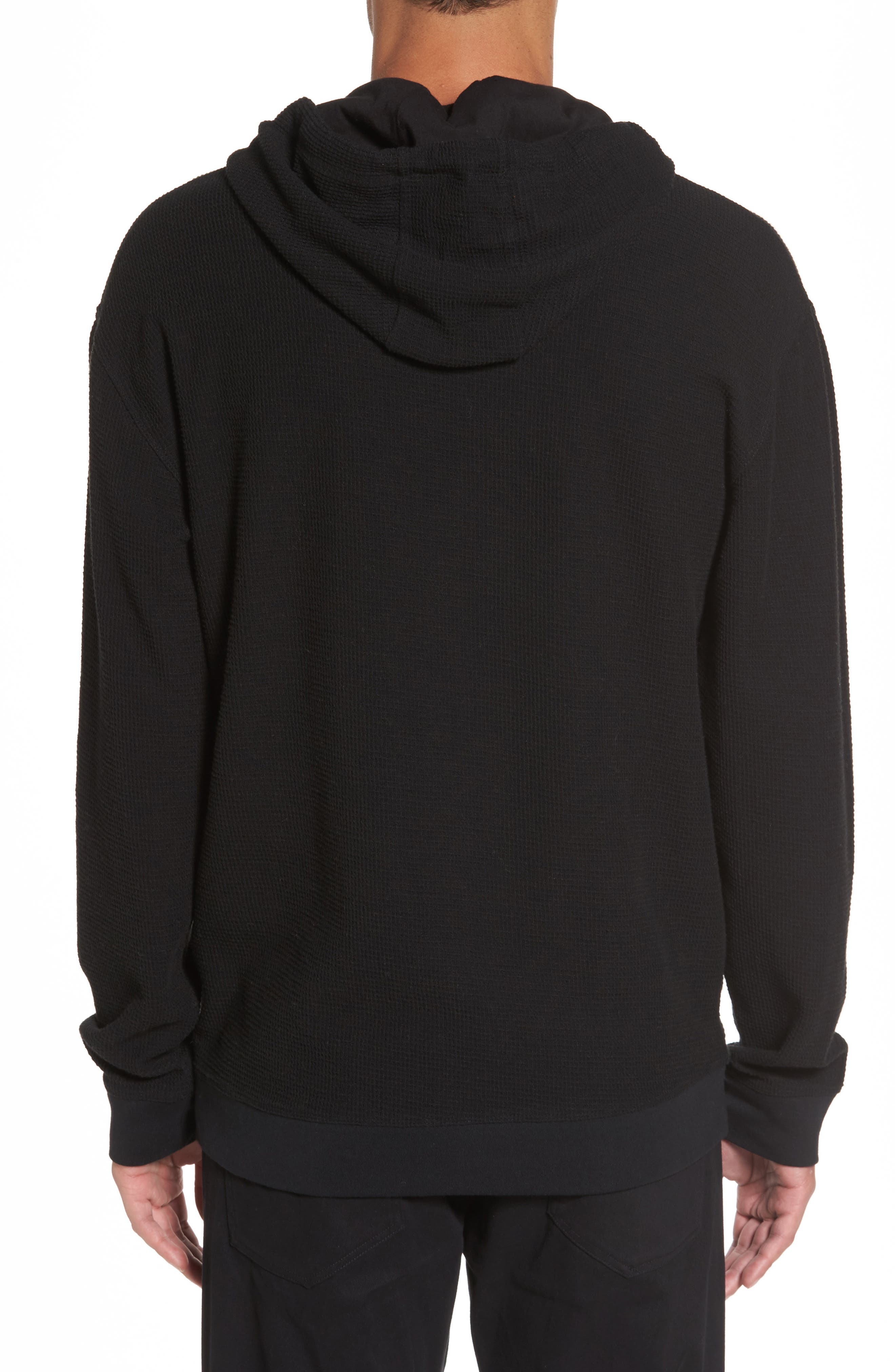 Waffle Knit Pullover Hoodie,                             Alternate thumbnail 2, color,                             001