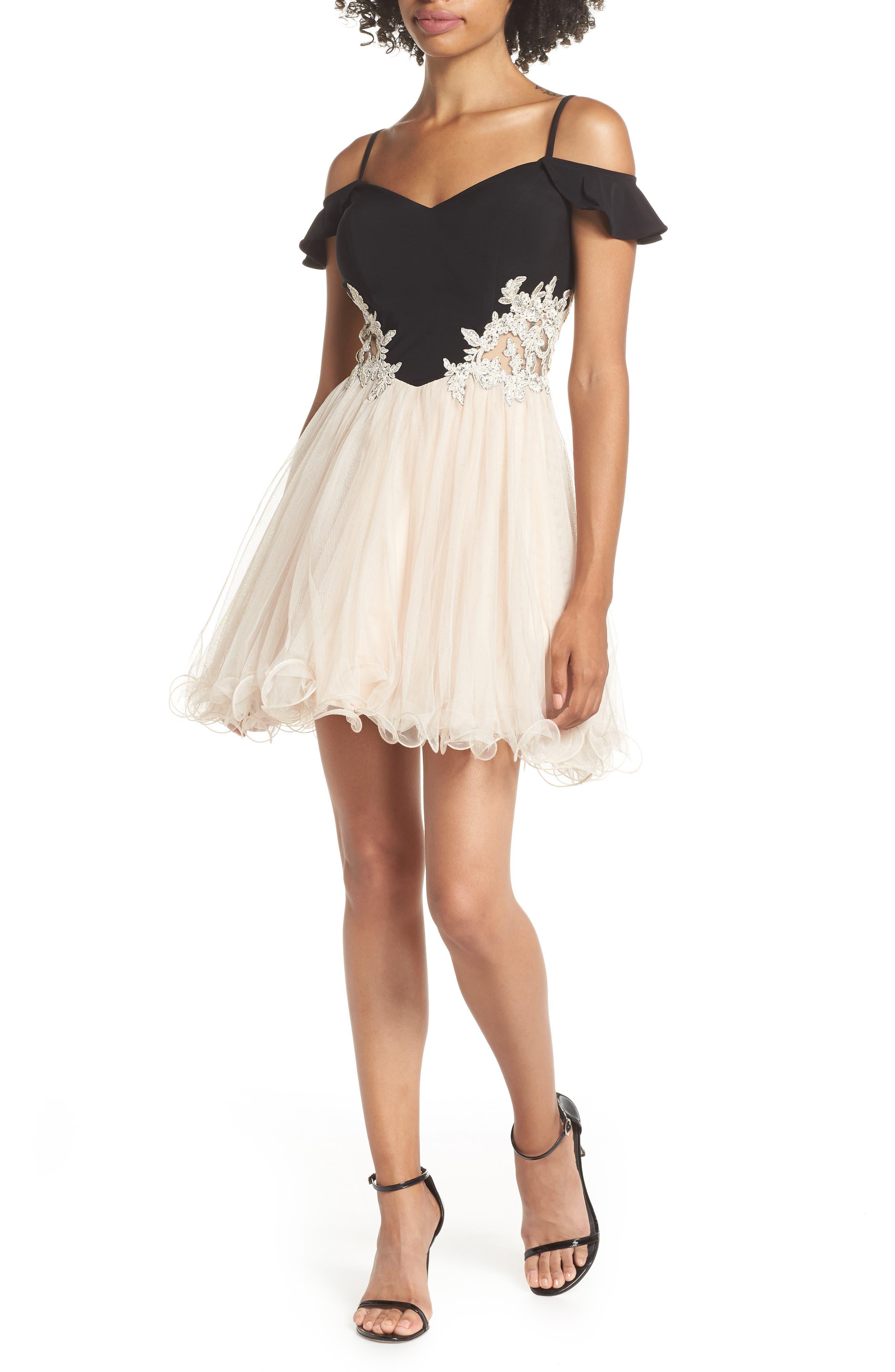 Blondie Nites Cold Shoulder Fit & Flare Dress, Beige