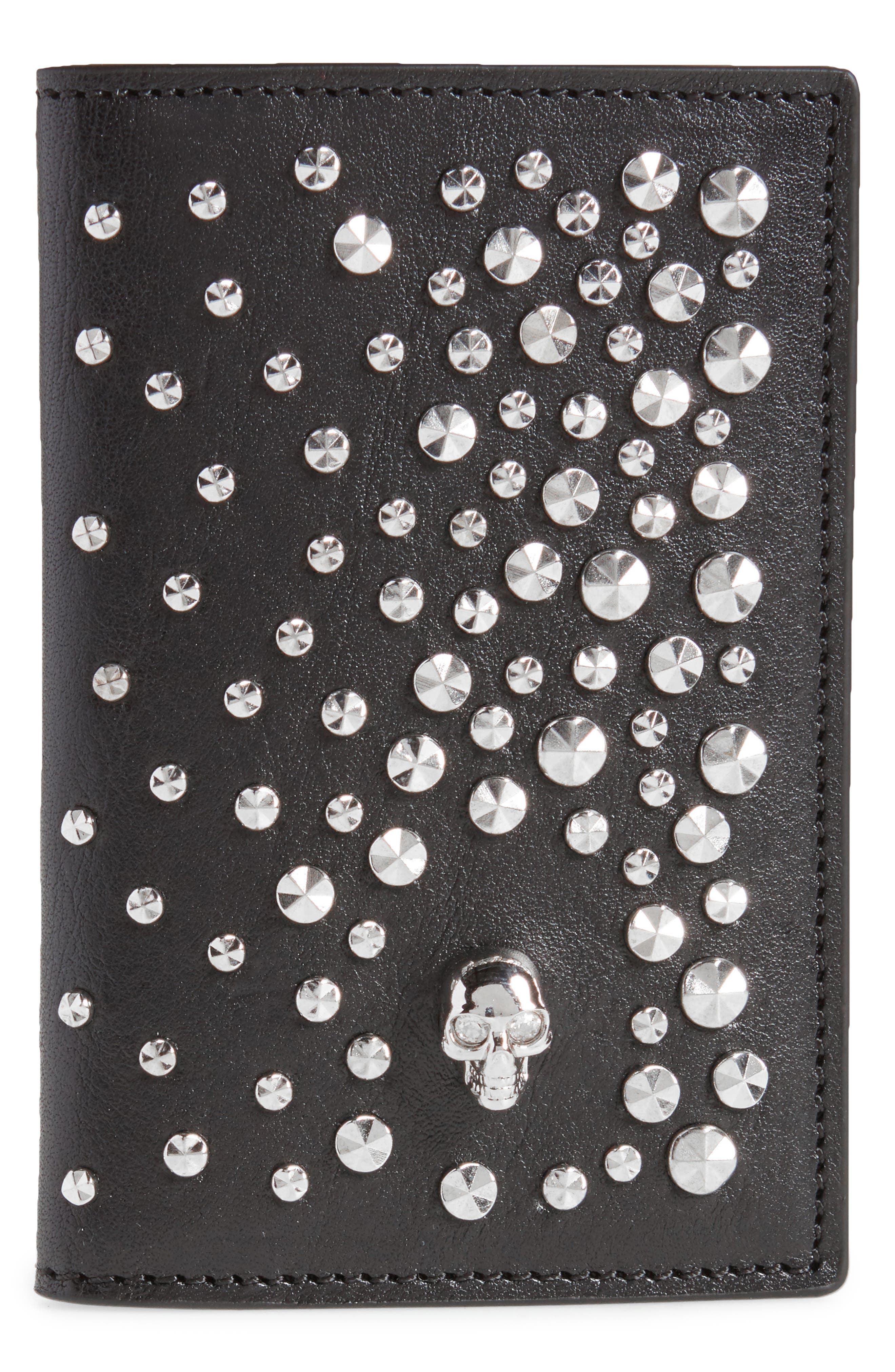 Studs & Skull Leather Card Case,                             Main thumbnail 1, color,                             001