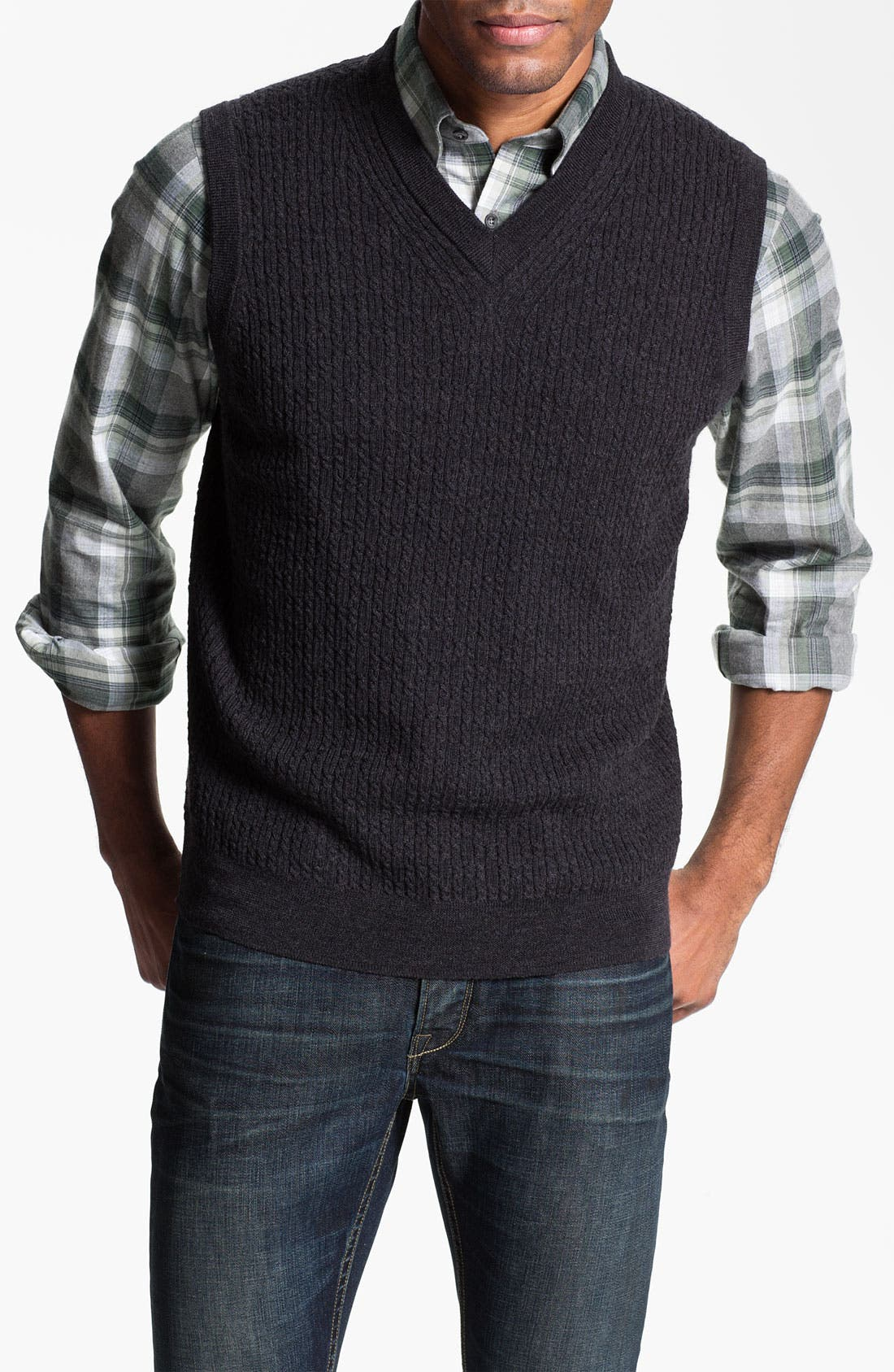 Cable Knit Merino Wool Sweater Vest,                             Main thumbnail 1, color,                             001