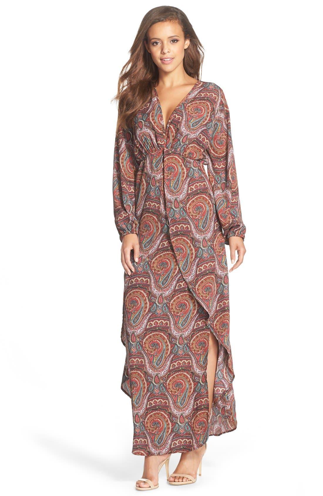 Paisley Print Maxi Dress,                             Main thumbnail 1, color,                             930