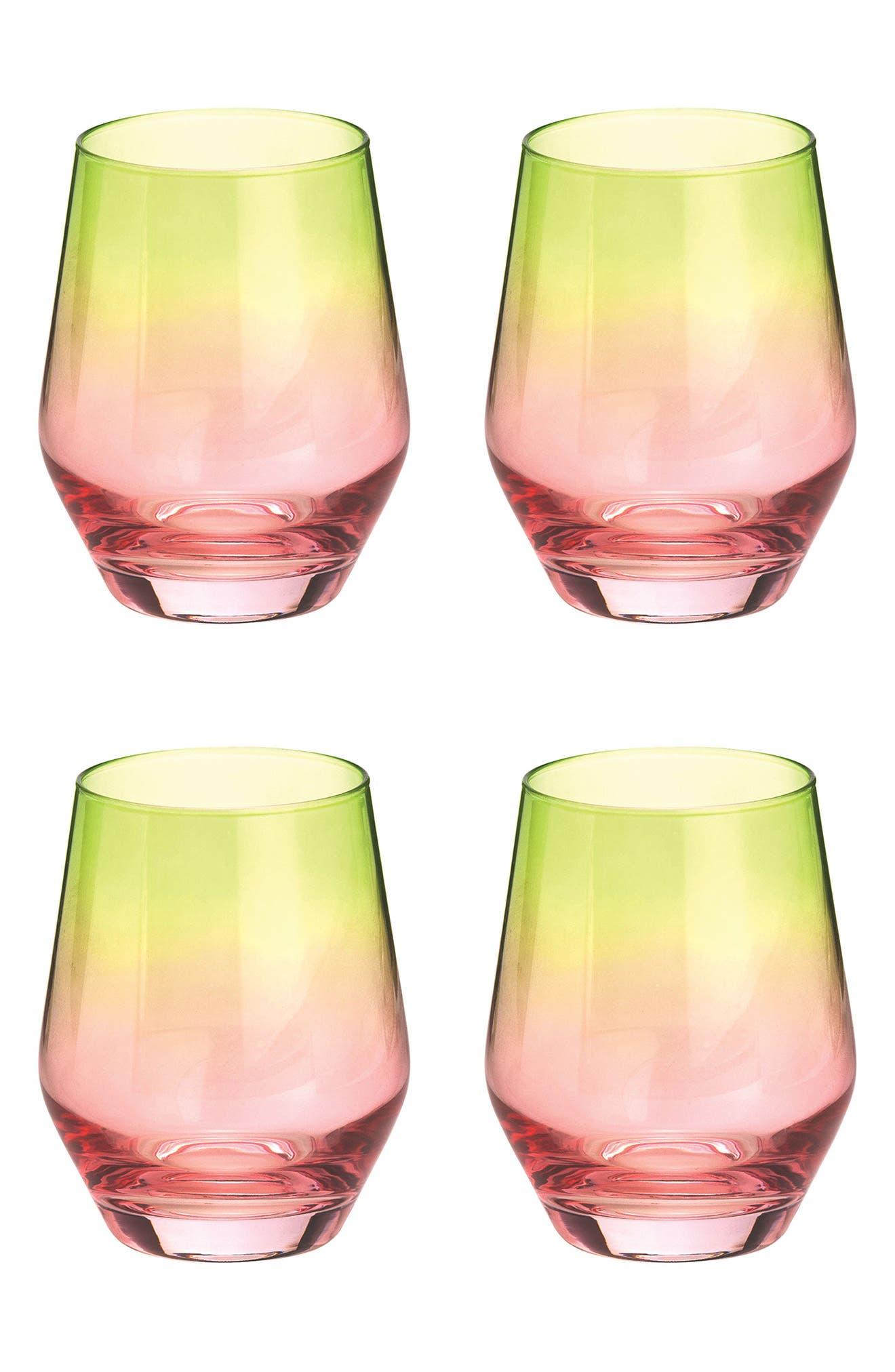 Zesty Life Set of 4 Highball Glasses,                             Main thumbnail 1, color,                             WATERMELON