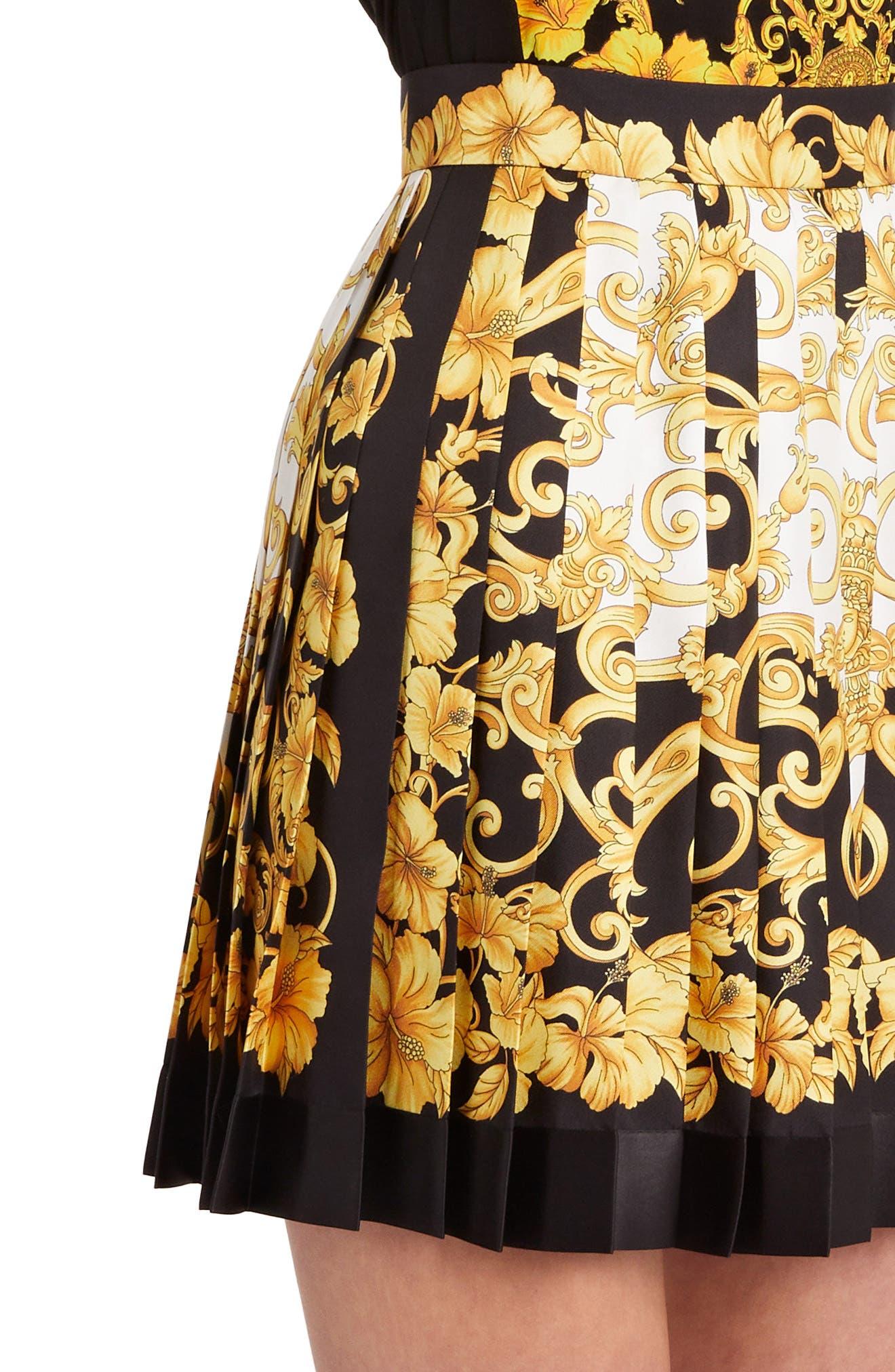 Hibiscus Print Pleated Silk Skirt,                             Alternate thumbnail 4, color,                             BLACK PRINT