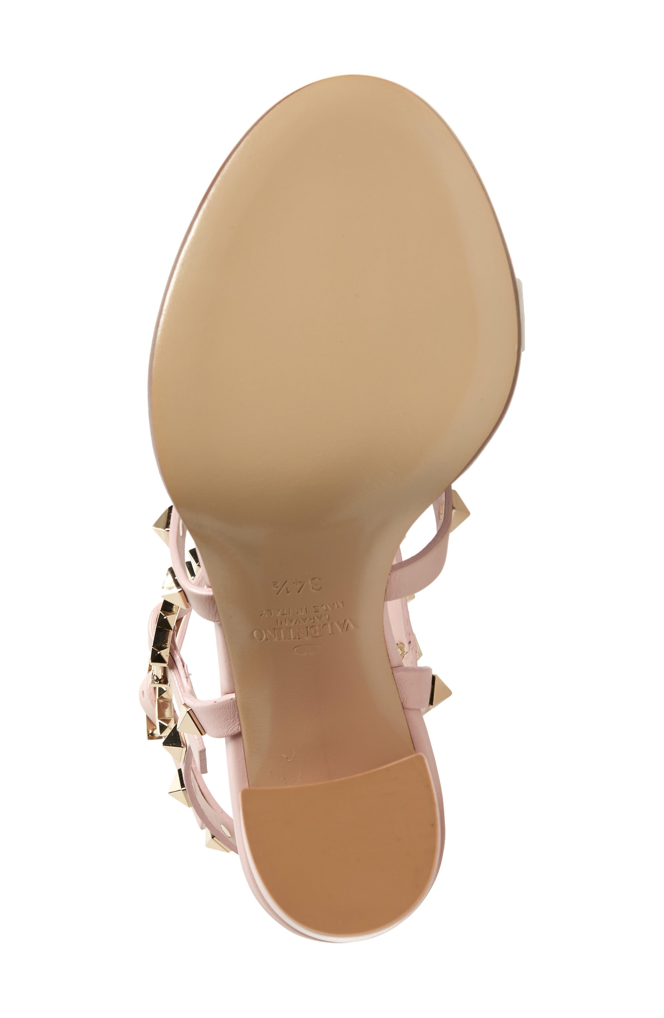 Rockstud Block Heel Sandal,                             Alternate thumbnail 6, color,                             WATER ROSE