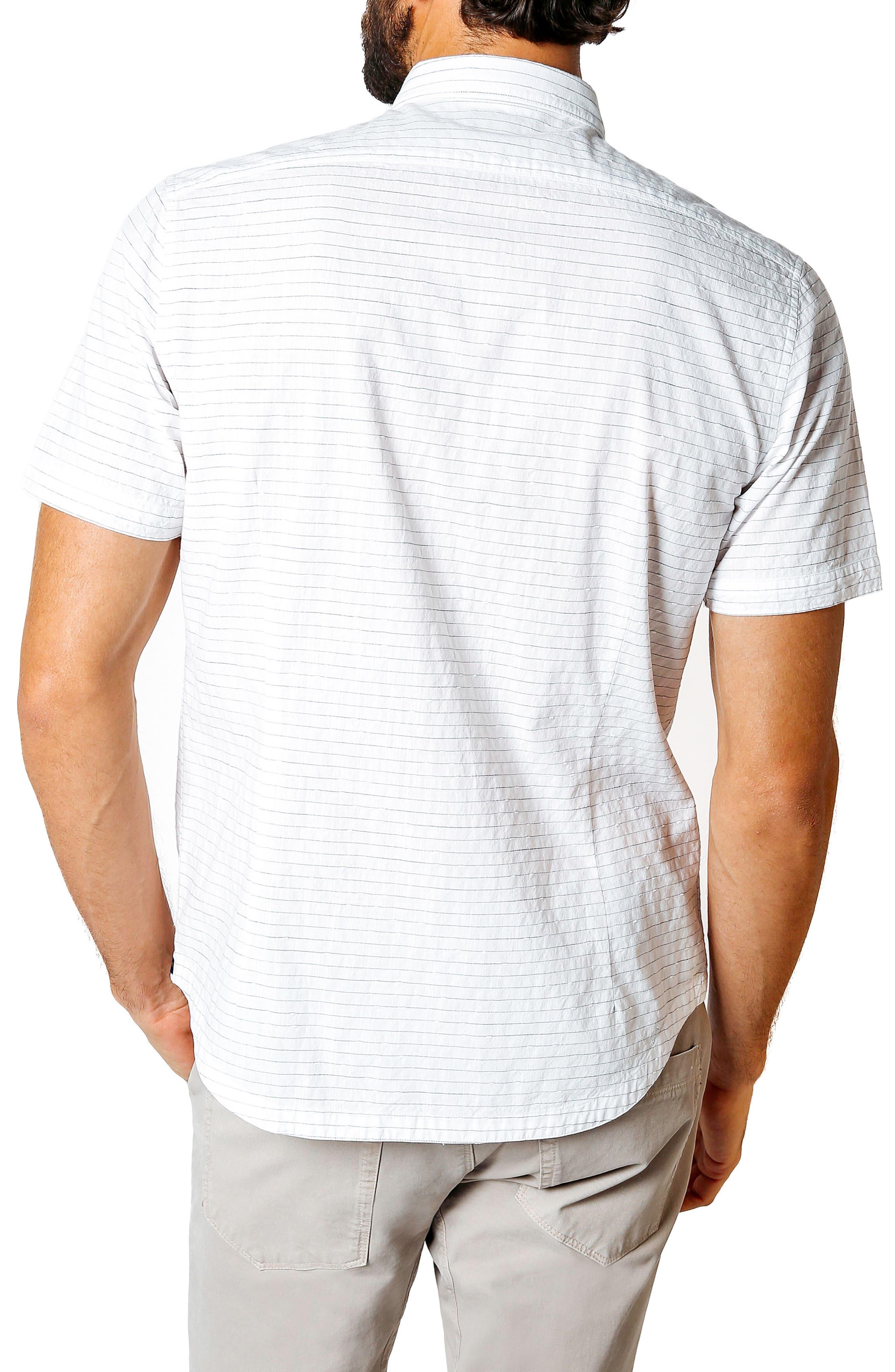 Longboard Trim Fit Stripe Sport Shirt,                             Alternate thumbnail 2, color,                             WHITE